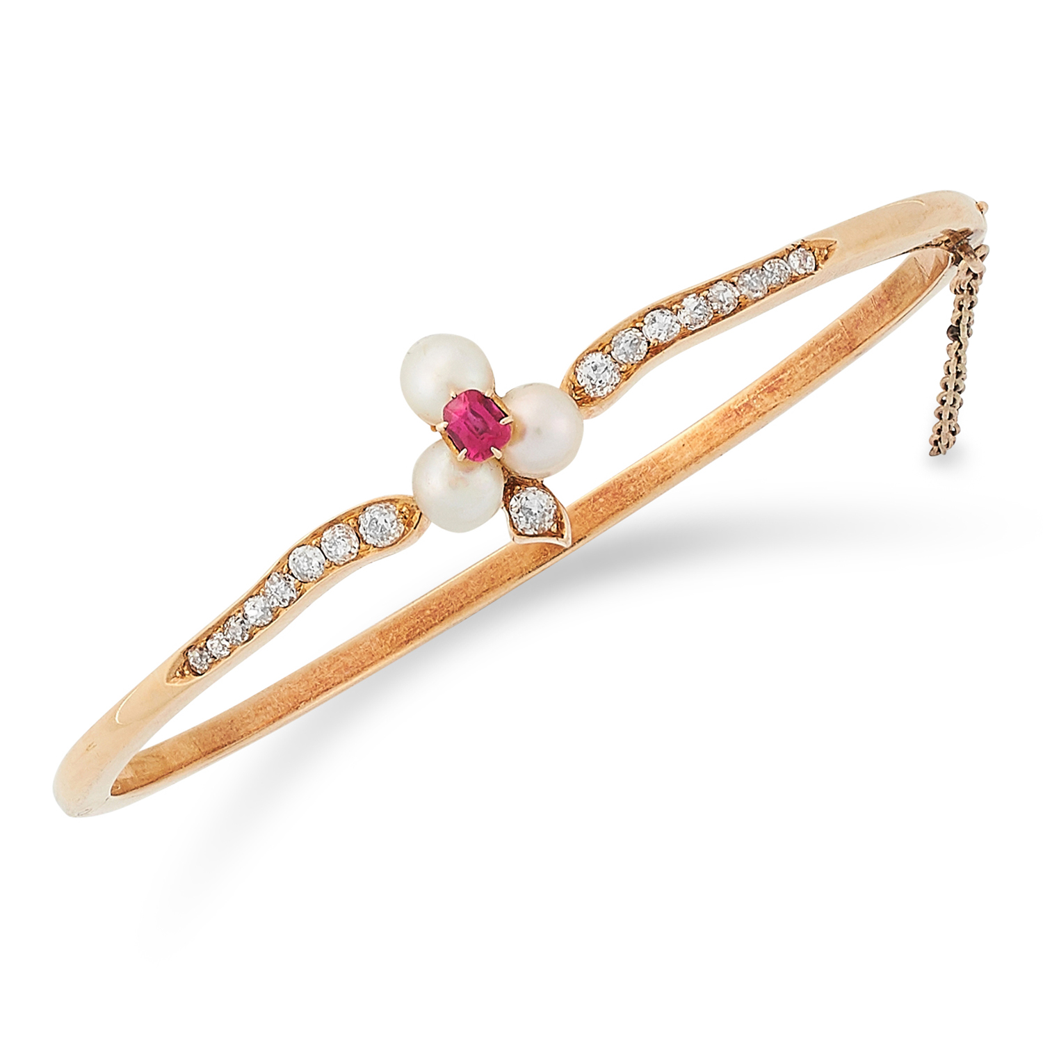 RUBY, DIAMOND AND PEARL BANGLE set with pearls, cushion cut ruby and round cut diamonds, 6cm inner
