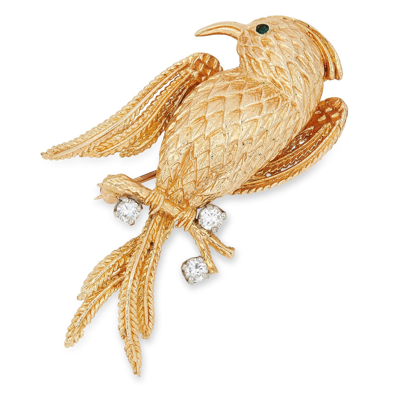 GEMSET BIRD BROOCH, set with round cut diamonds and a green gemstone, 5cm, 9g.