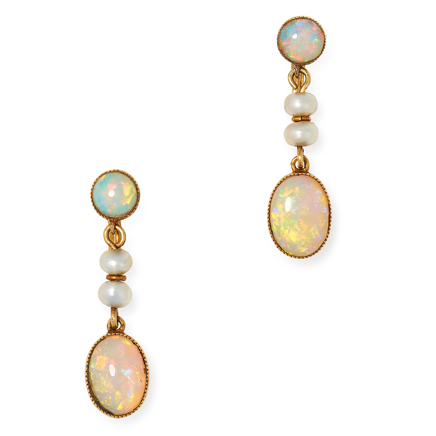 ANTIQUE OPAL AND PEARL EARRINGS set with cabochon opals and pearls, 2.4cm, 2.2g.