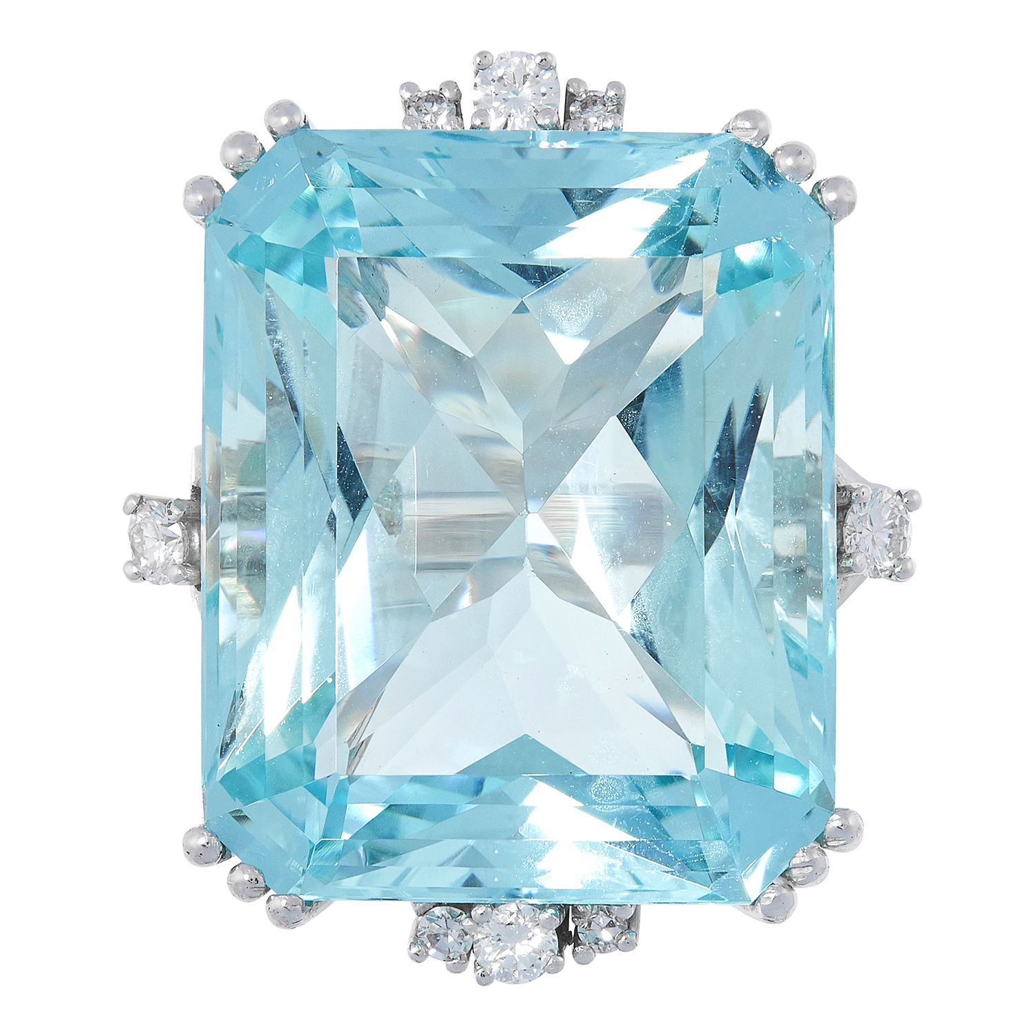 AQUAMARINE AND DIAMOND RING set with an emerald cut aquamarine of approximately 26.00 carats and