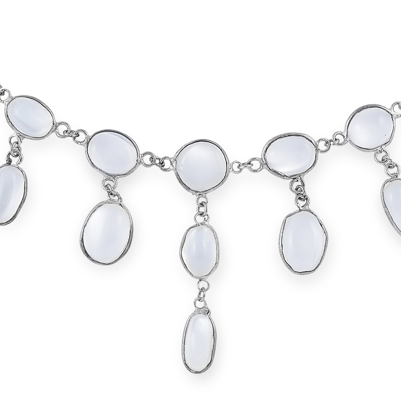 MOONSTONE NECKLACE set with cabochon moonstones, 48cm, 7.5g. - Image 2 of 2