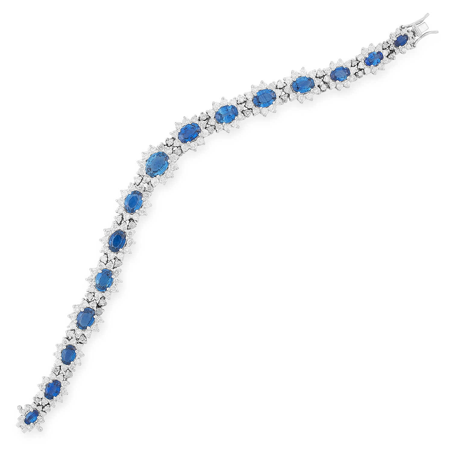 SAPPHIRE AND DIAMOND BRACELET set with approximately 9.16 carats of oval cut sapphires and 5.34