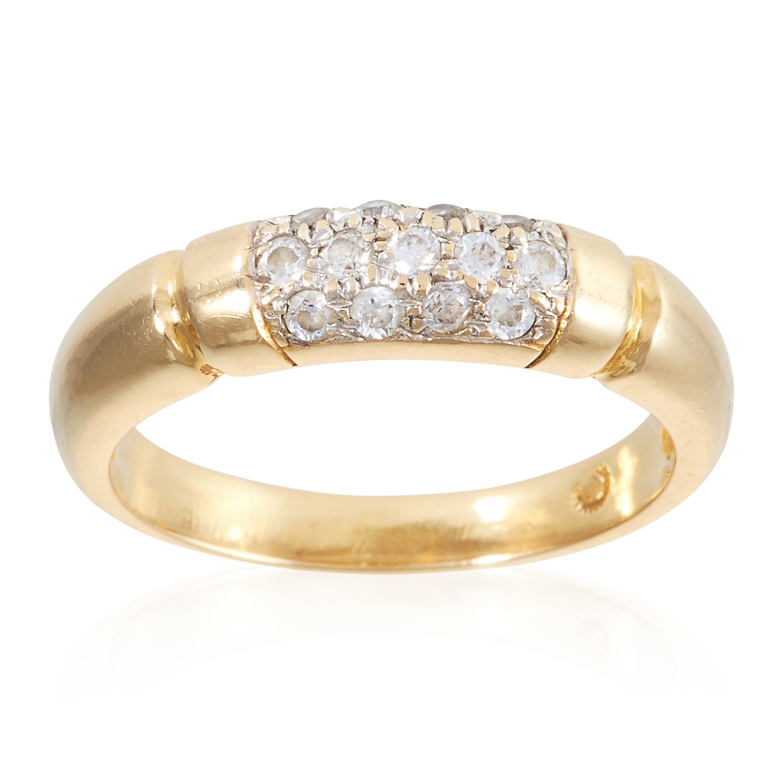 A PAVE SET CUBIC ZIRCONIA PANEL RING, in yellow gold, with grooved sides, set with round cut cubic