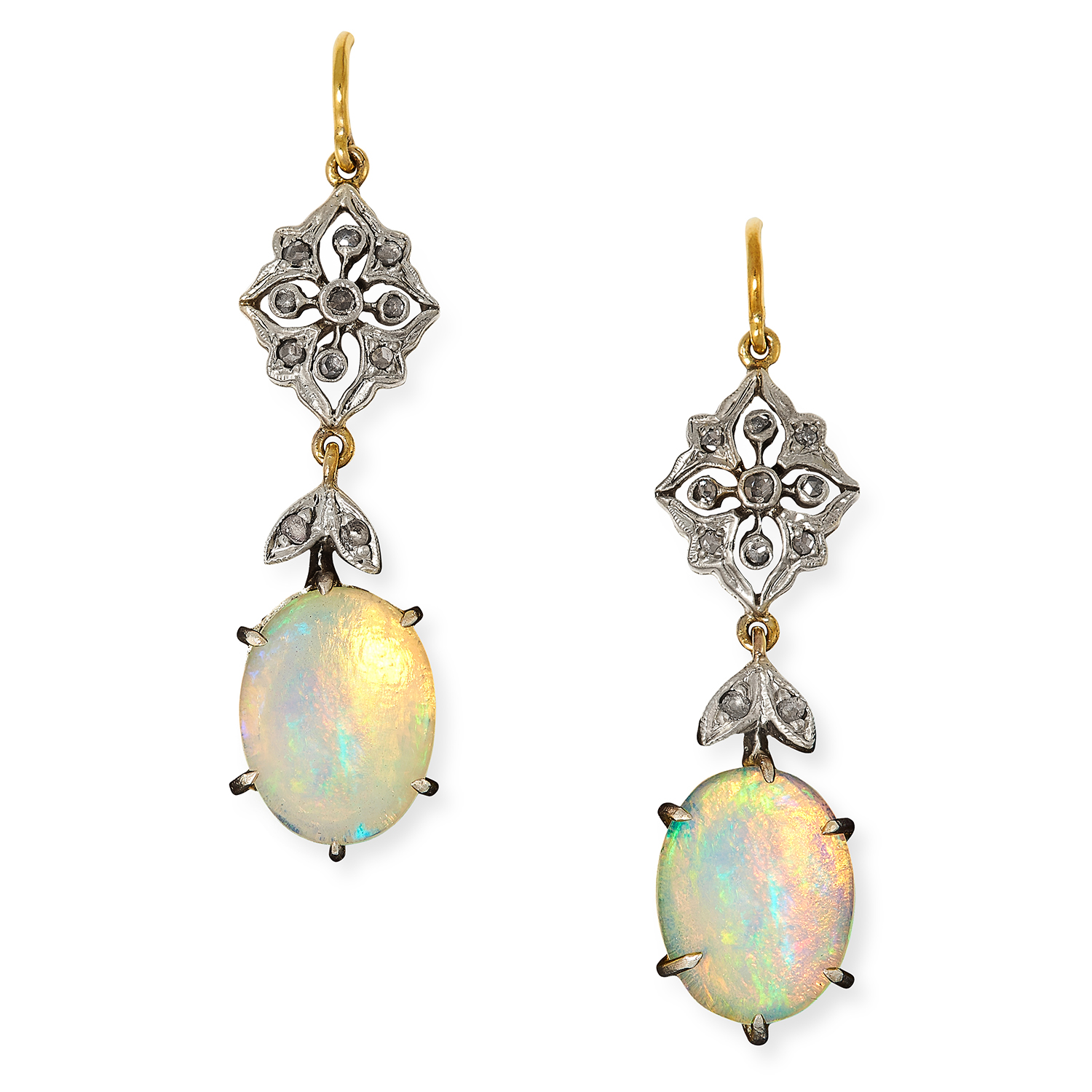 OPAL AND DIAMOND EARRINGS each set with rose cut diamonds and suspending a cabochon opal, 3.7cm, 3.