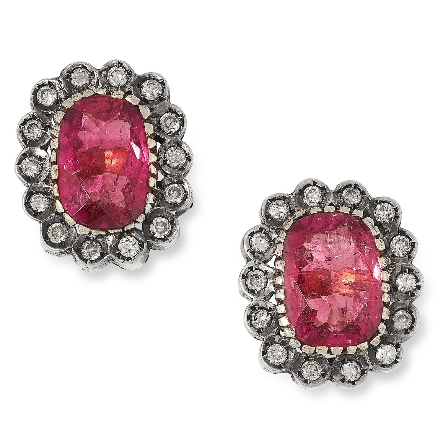 TOURMALINE AND DIAMOND CLUSTER EARRINGS each set with a cushion cut tourmaline totalling