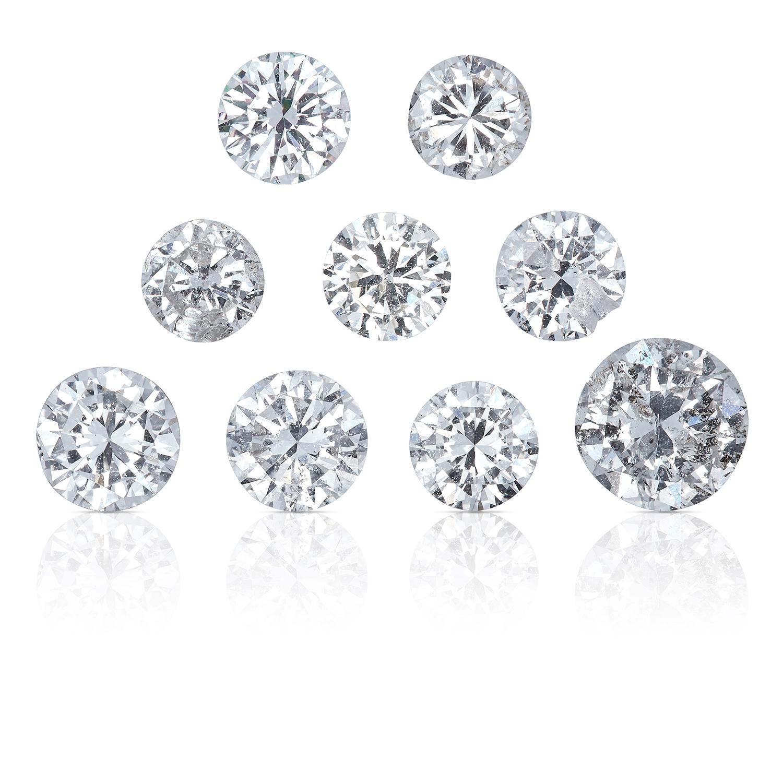 NINE ROUND CUT MODERN BRILLIANT DIAMONDS, TOTALLING 1.92cts, UNMOUNTED