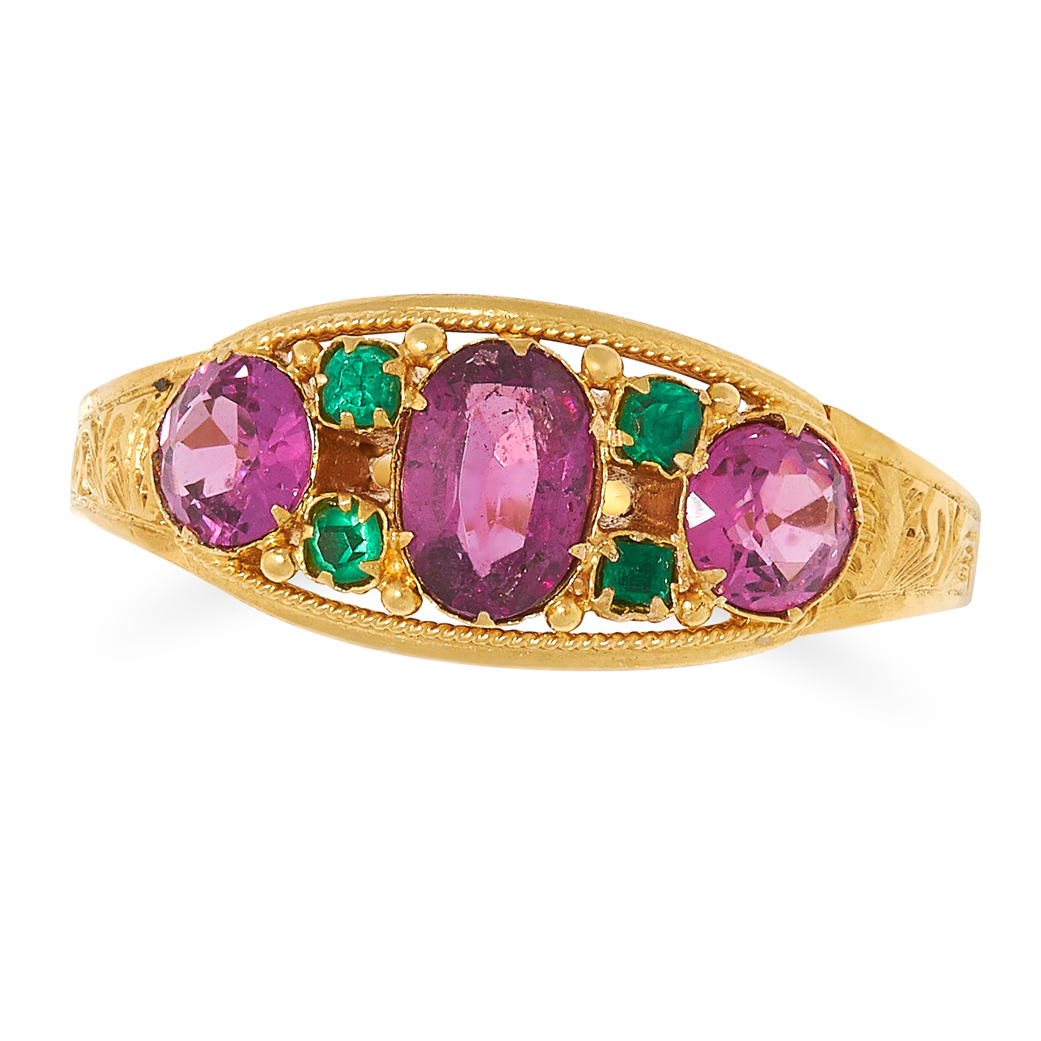 ANTIQUE GARNET AND EMERALD RING set with round and oval cut garnets and round cut emeralds, size M /