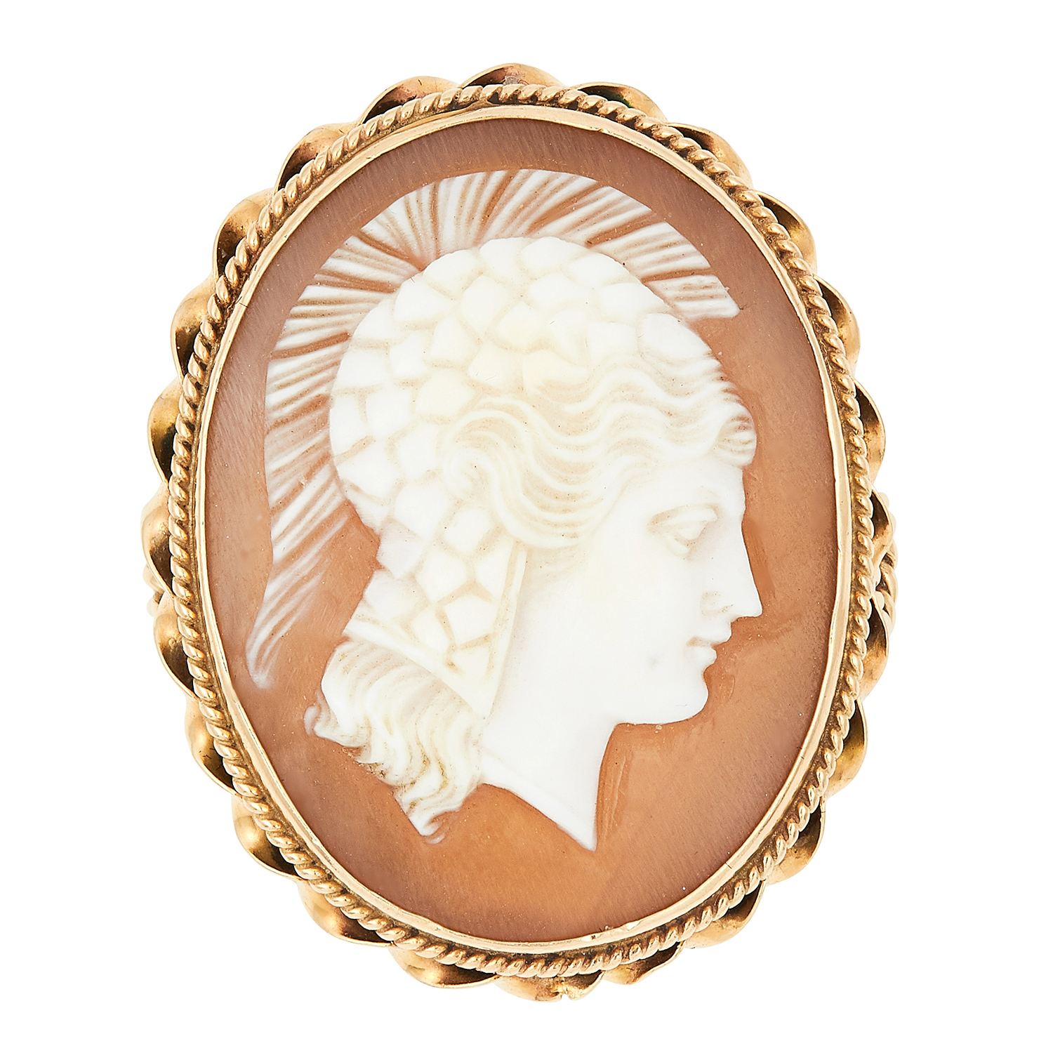 Los 19 - ANTIQUE CAMEO RING, depicting a Roman soldier in a decorative border, size L / 5.5, 6.1g.