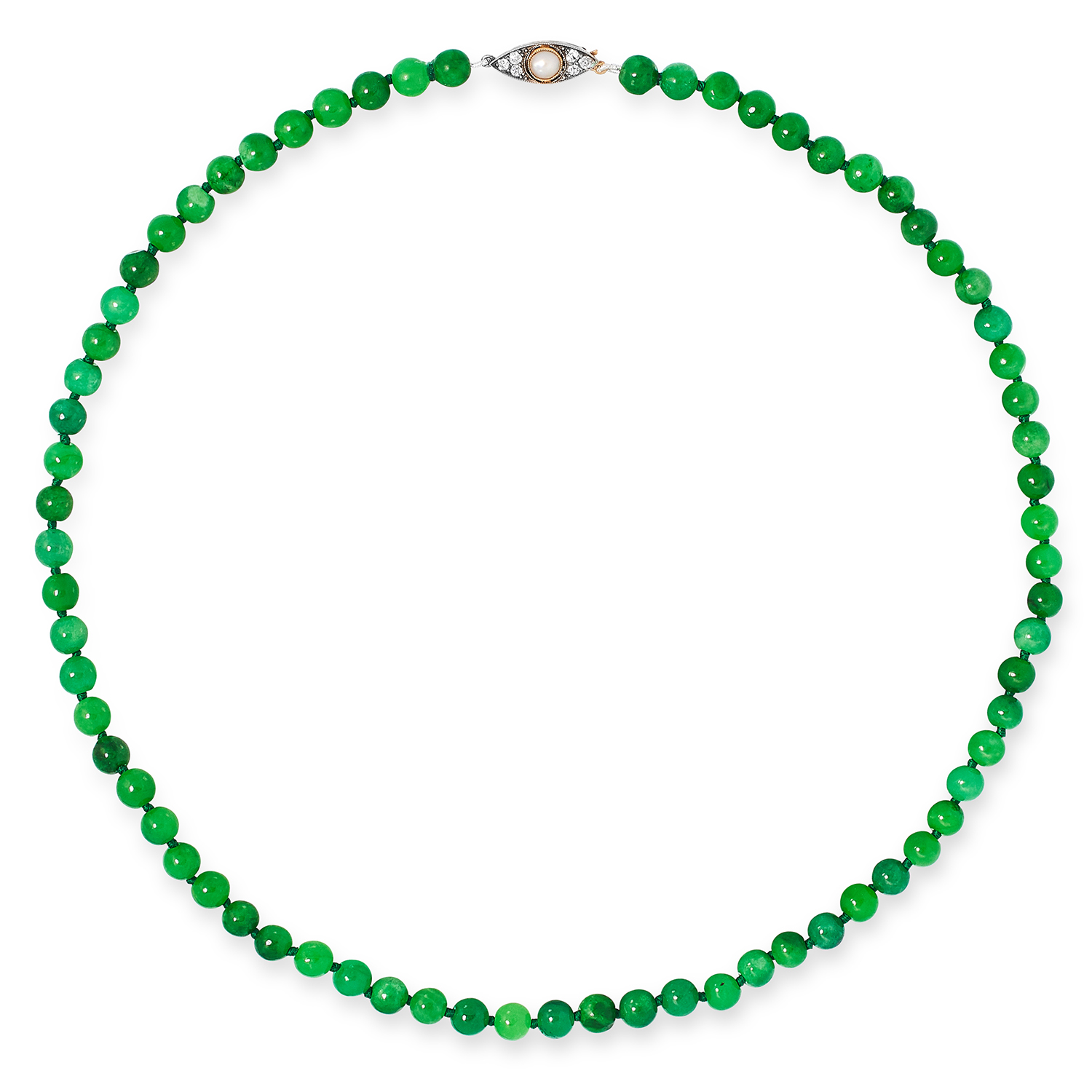 JADE BEAD NECKLACE comprising of a single row of jade beads, with round cut diamond and pearl clasp,