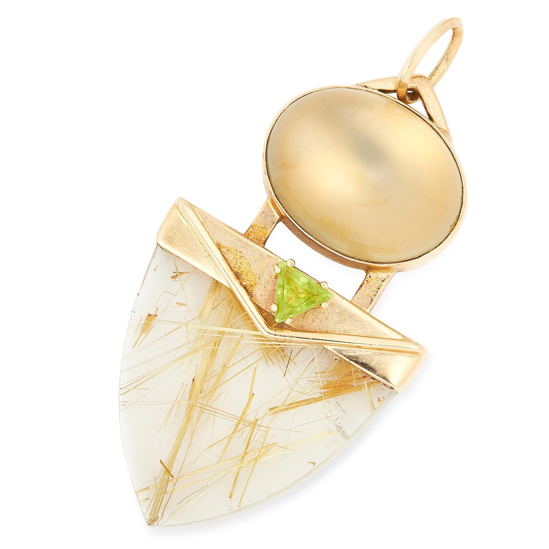 RUTILATED QUARTZ, MOONSTONE AND PERIDOT PENDANT, PASA set with a polished rutilated quartz, a