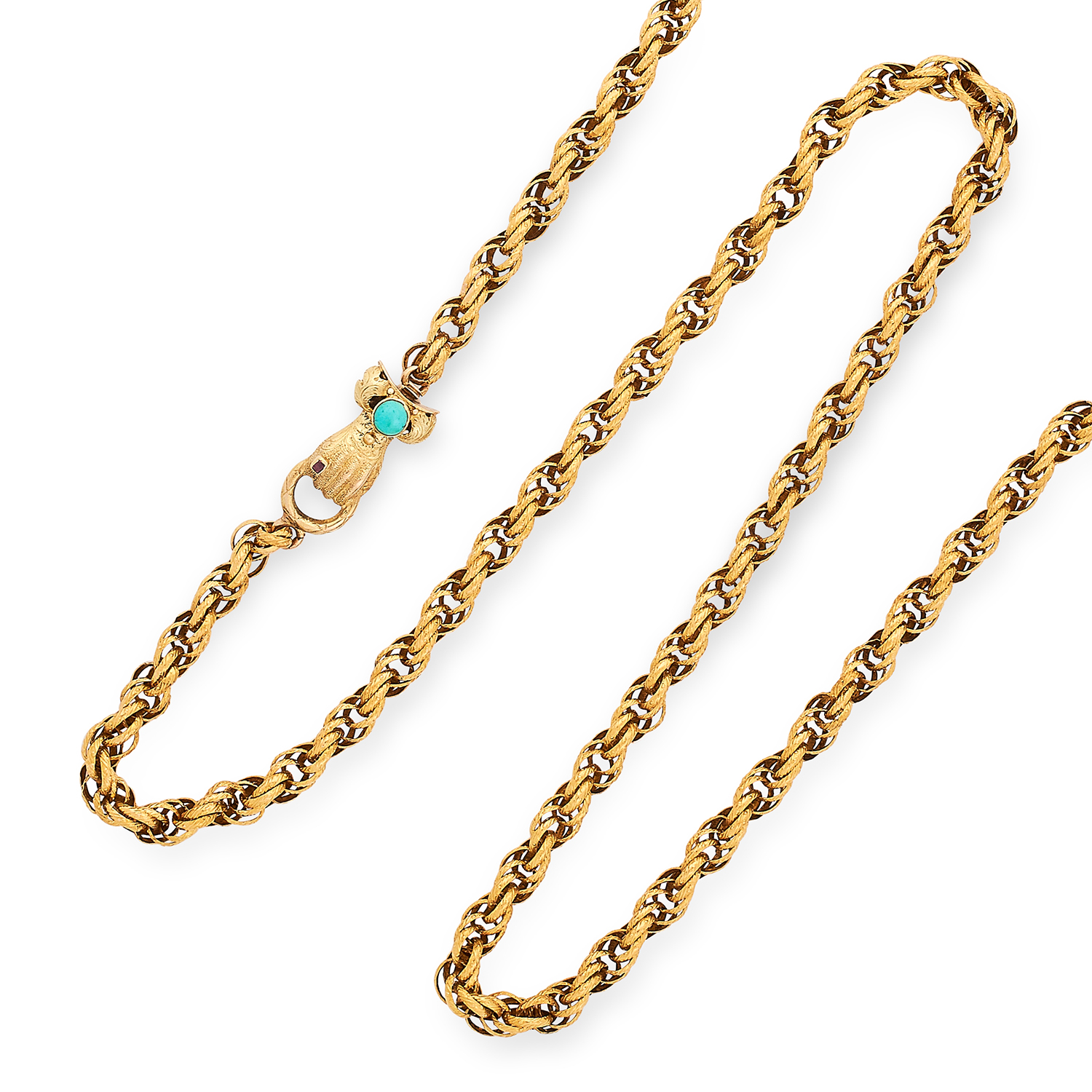 ANTIQUE GUARD CHAIN the hand clasp set with turquoise and a ruby, 78.5cm, 25.3g.