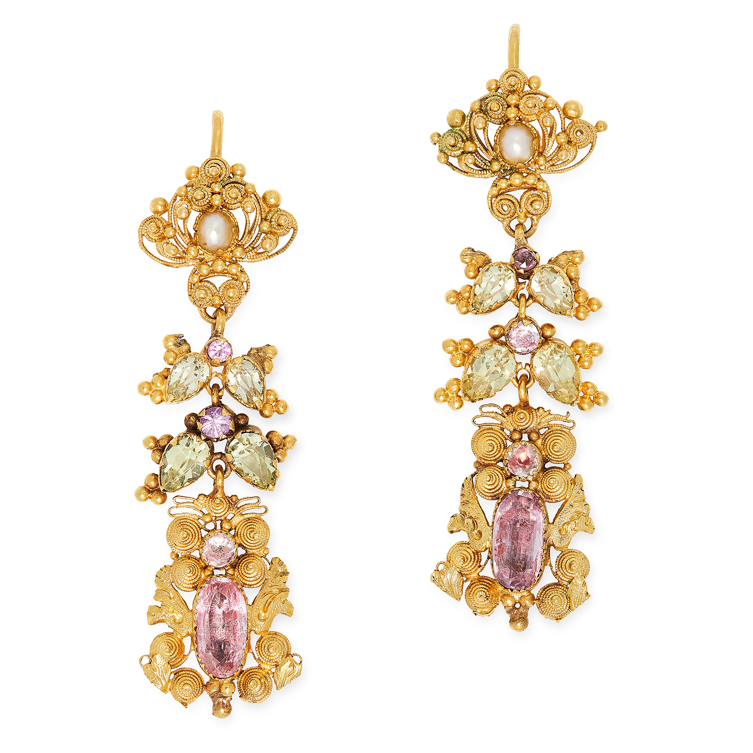 Los 12 - ANTIQUE GEORGIAN PINK TOPAZ, CHRYSOBERYL AND PEARL EARRINGS in foliate design, set with pearls, pear
