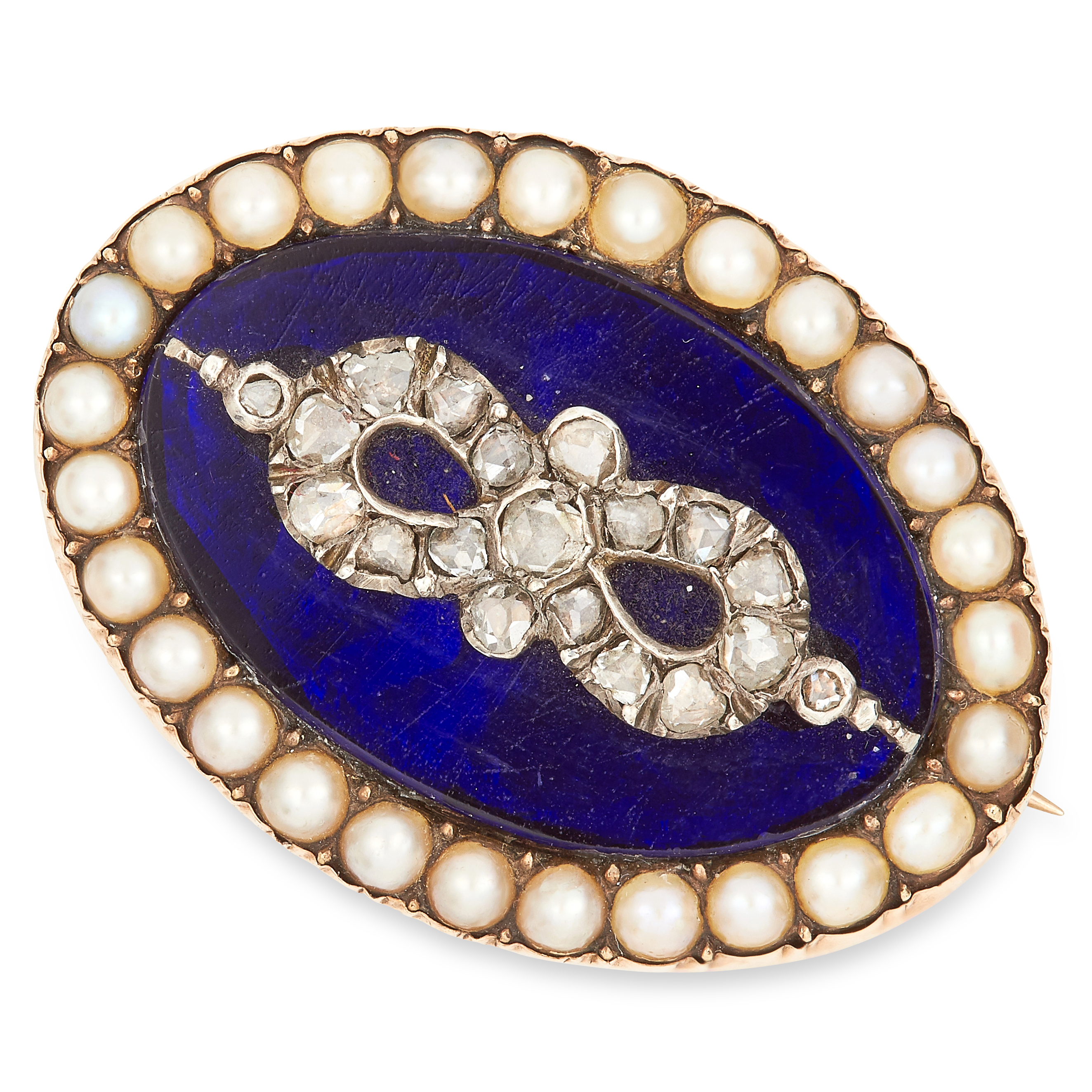 Los 56 - ANTIQUE PEARL, DIAMOND AND ENAMEL BROOCH set with blue enamel, seed pearls and rose cut diamonds,