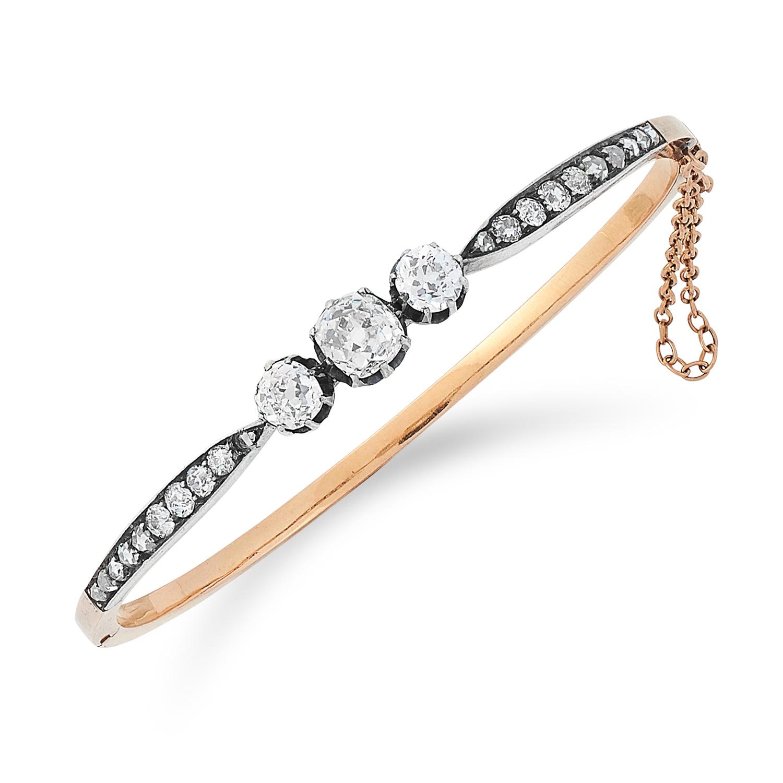 ANTIQUE DIAMOND BANGLE set with old cut diamonds, 5.5cm inner diameter, 9.8g.