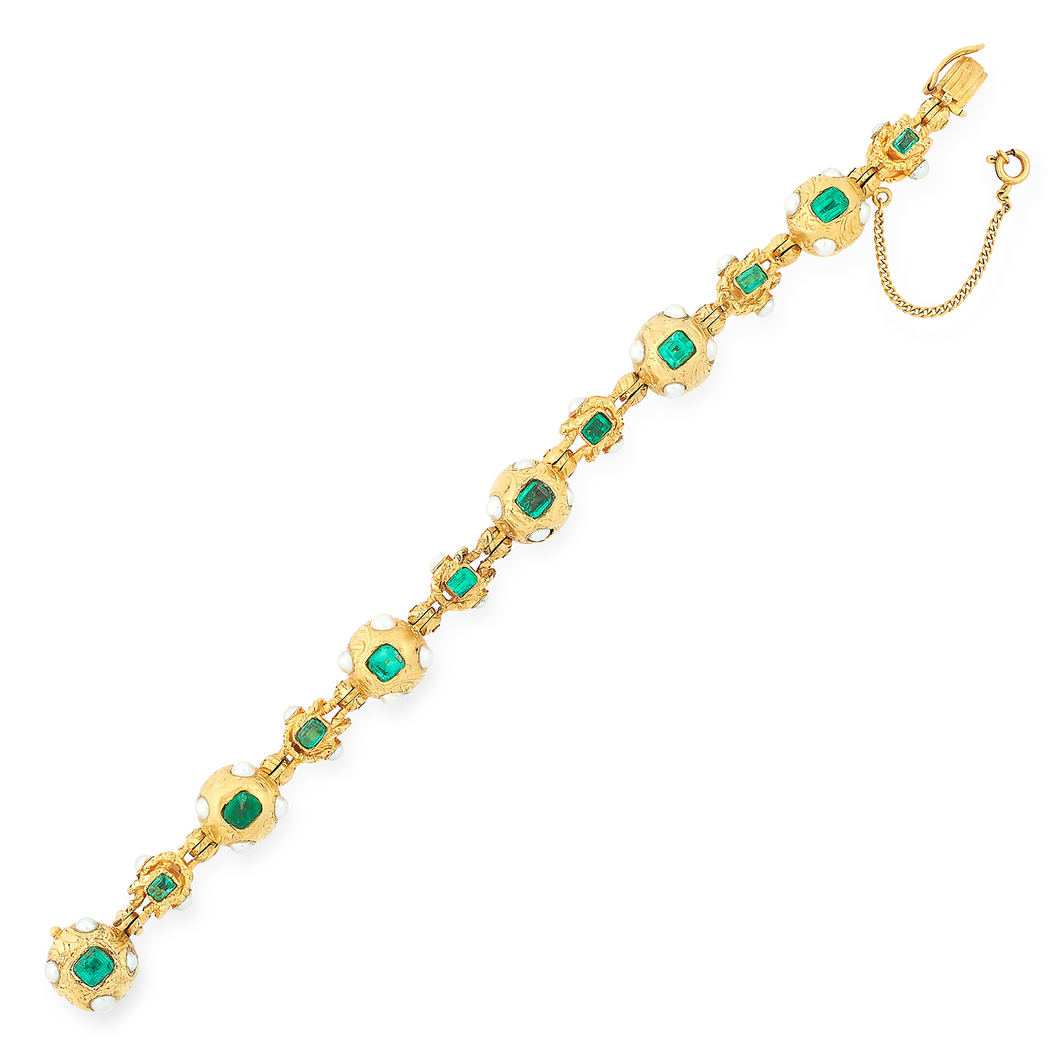 Los 43 - EMERALD AND PEARL BRACELET comprising of gold beads set with emerald cut emeralds and pearls,