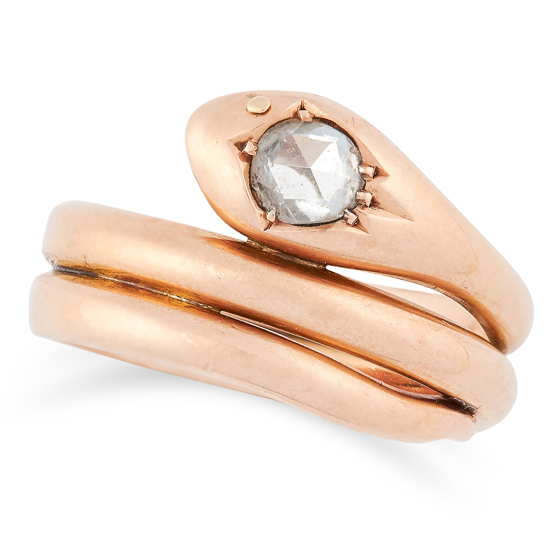 ANTIQUE DIAMOND SNAKE RING set with a rose cut diamond, size Q / 8, 8.9g.