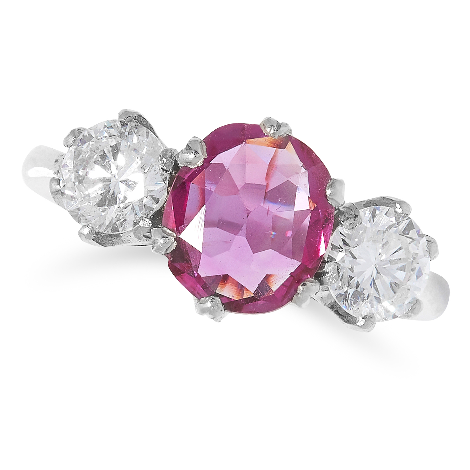SPINEL AND DIAMOND THREE STONE RING set with a round cut spinel of approximately 1.28 carats between