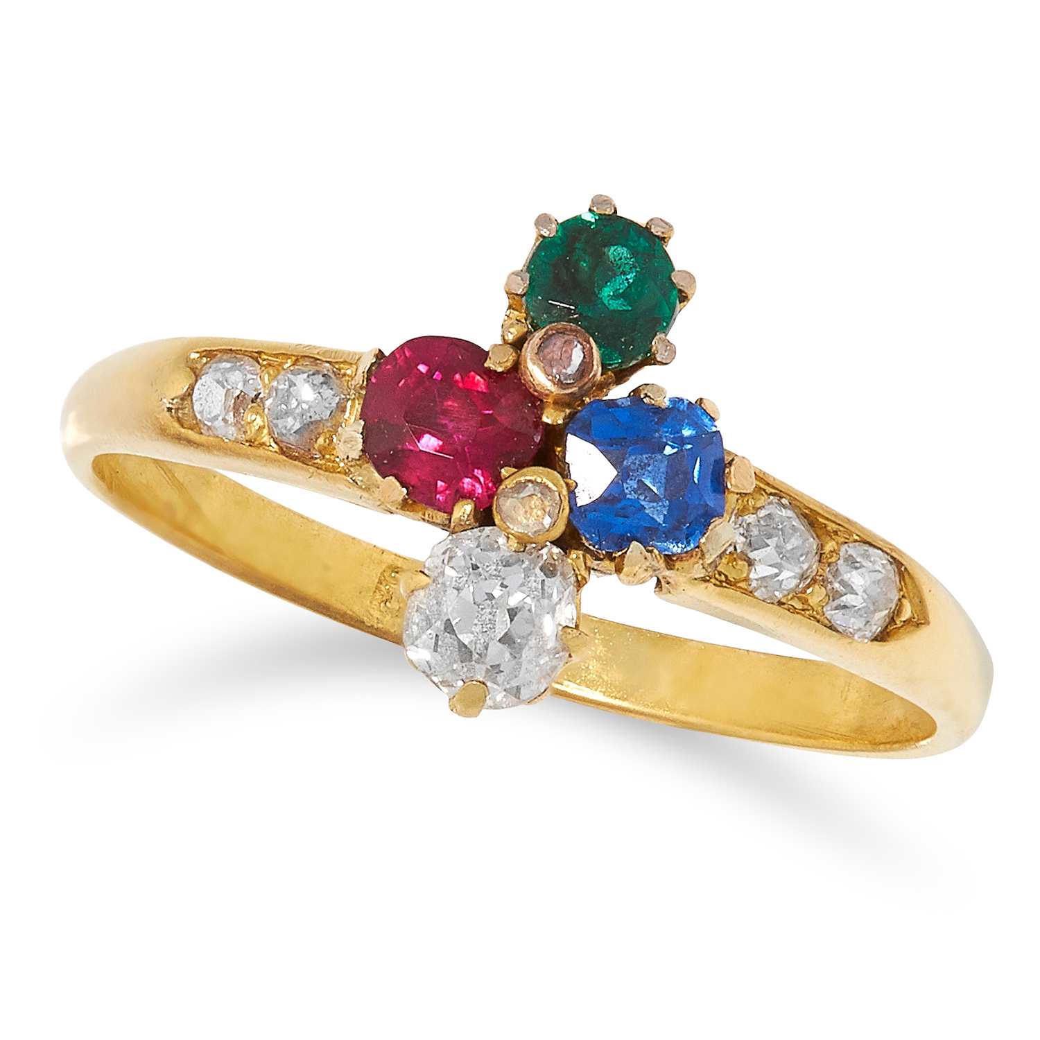 GEMSET RING set with round cut ruby, sapphire, emerald and old cut diamonds, size N / 7, 2.5g.