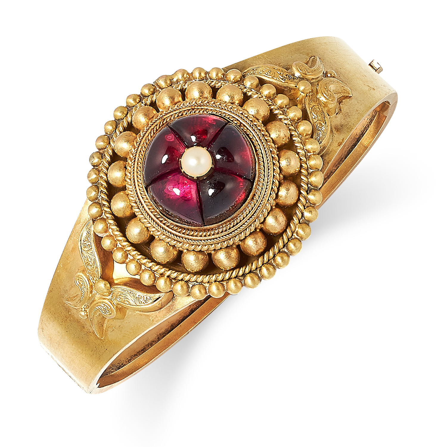 ANTIQUE VICTORIAN GARNET AND PEARL BANGLE set with cabochon garnet and a pearl, 5.5cm inner