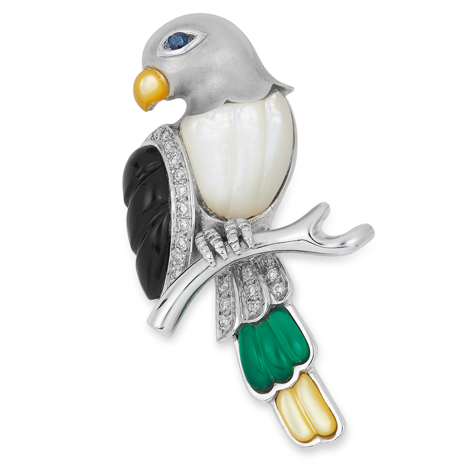 Los 30 - GEMSET PARROT BROOCH, set with multi coloured hardstones, onyx and a round cut sapphire, 4.7cm, 11.