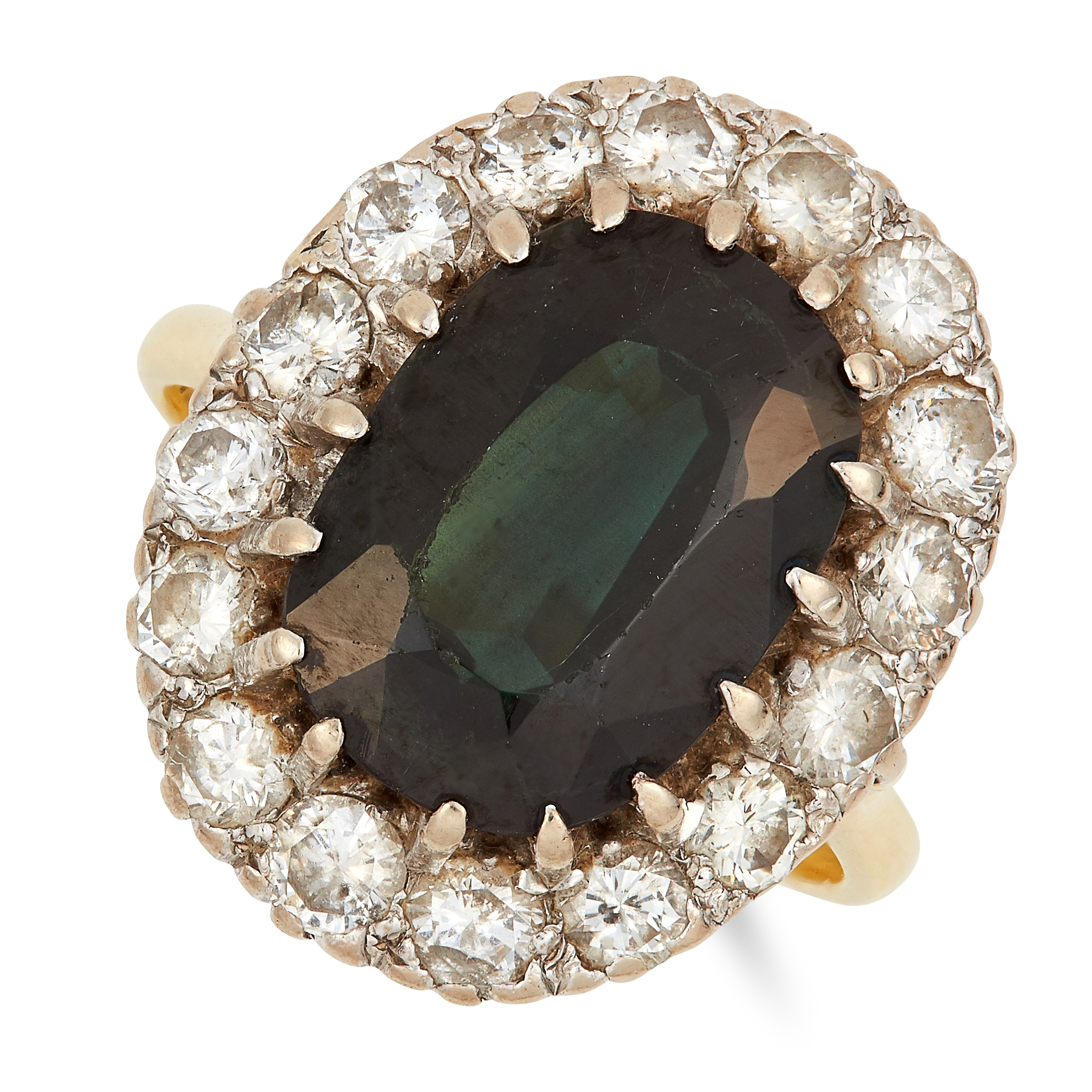 Los 34 - TOURMALINE AND DIAMOND CLUSTER RING set with an oval cut green tourmaline in a cluster of round