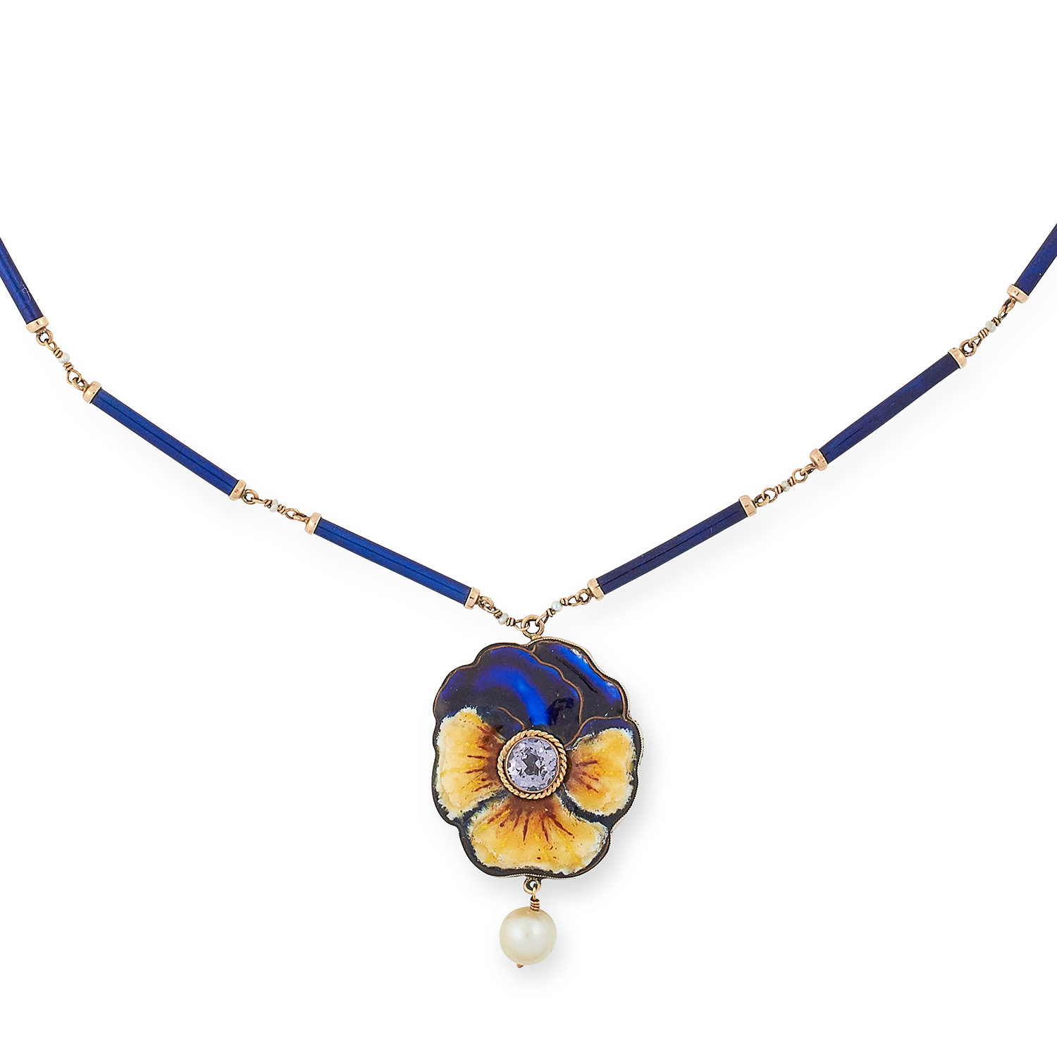 ANTIQUE ENAMELLED PANSY NECKLACE set with a purple faceted stone and a pearl, 43.5cm, 11g.