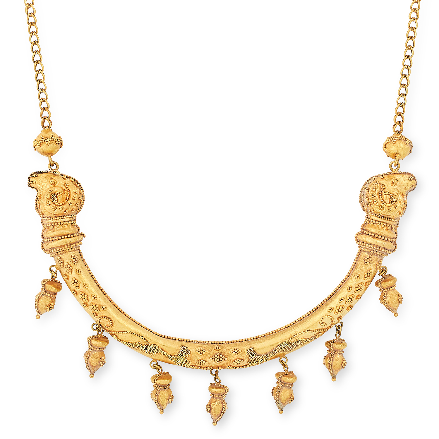 ANTIQUE FANCY LINK COLLAR NECKLACE, CIRCA 1880 formed of articulated gold links with beaded