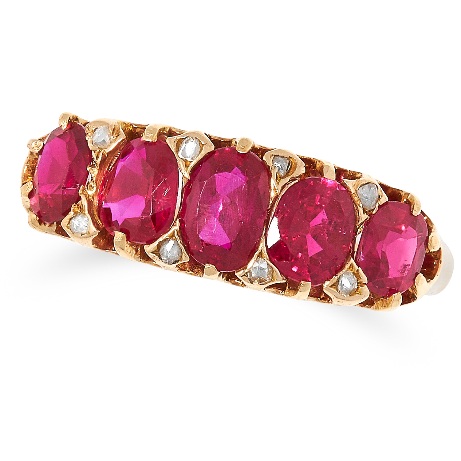 Los 9 - 1.59 CARAT BURMA NO HEAT RUBY AND DIAMOND RING set with five oval cut rubies totalling 1.59 carats