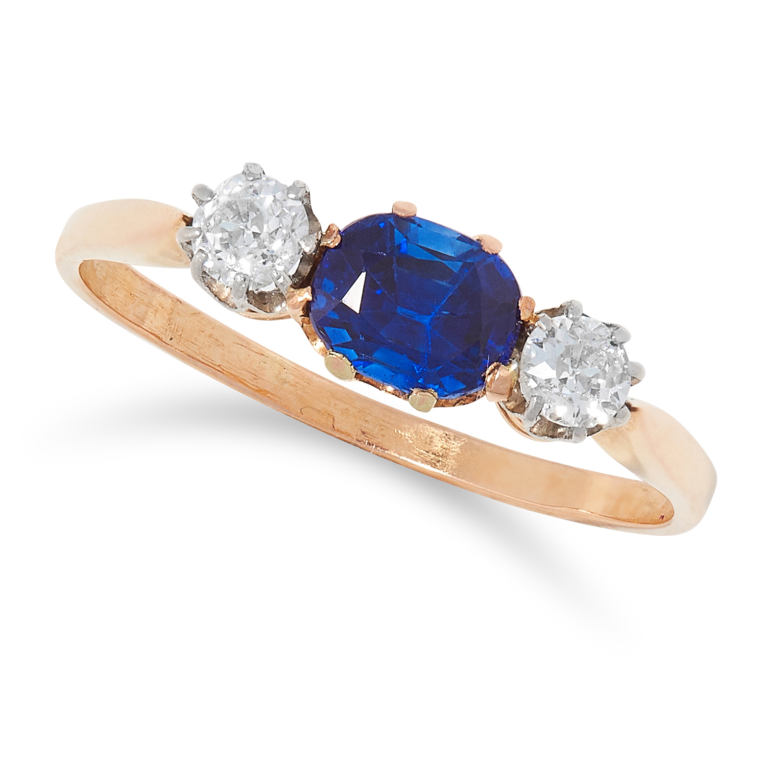 SAPPHIRE AND DIAMOND THREE STONE RING set with a cushion cut sapphire of approximately 0.82 carats