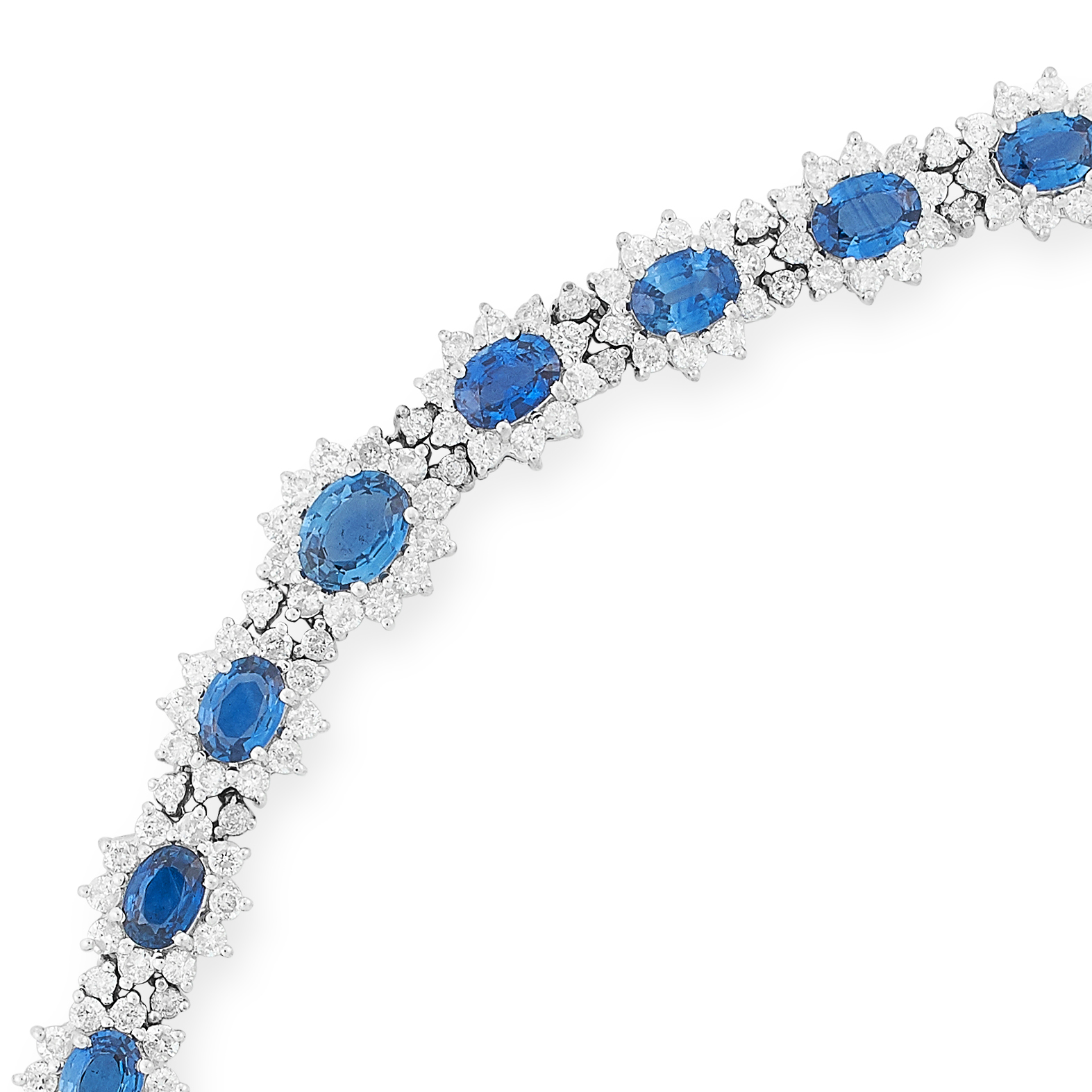 SAPPHIRE AND DIAMOND BRACELET set with approximately 9.16 carats of oval cut sapphires and 5.34 - Bild 2 aus 2