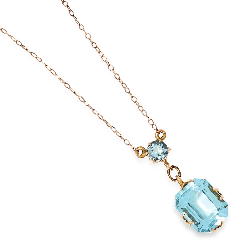 AQUAMARINE PENDANT set with a round cut aquamarine suspending an emerald cut aquamarine, 1cm, 1.7g.