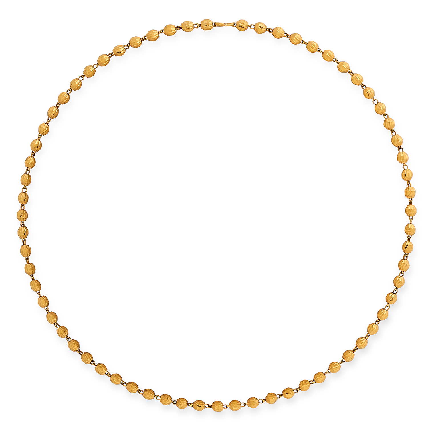GOLD BEAD NECKLACE comprising of a single row of textured gold beads, 50cm, 20.5g.