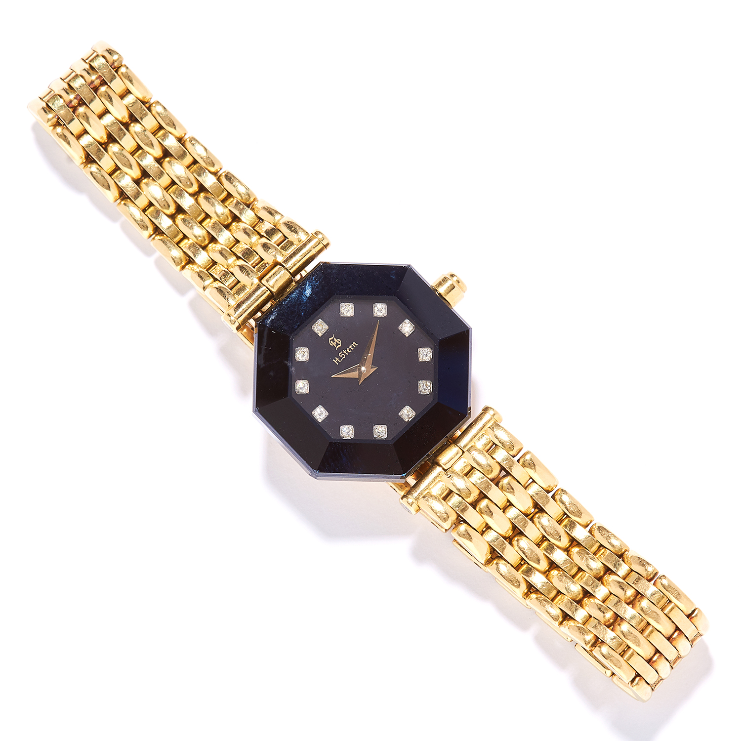 LADIES DIAMOND AND SAPPHIRE WRISTWATCH, H. STERN with sapphire and round cut diamond dial, with gold