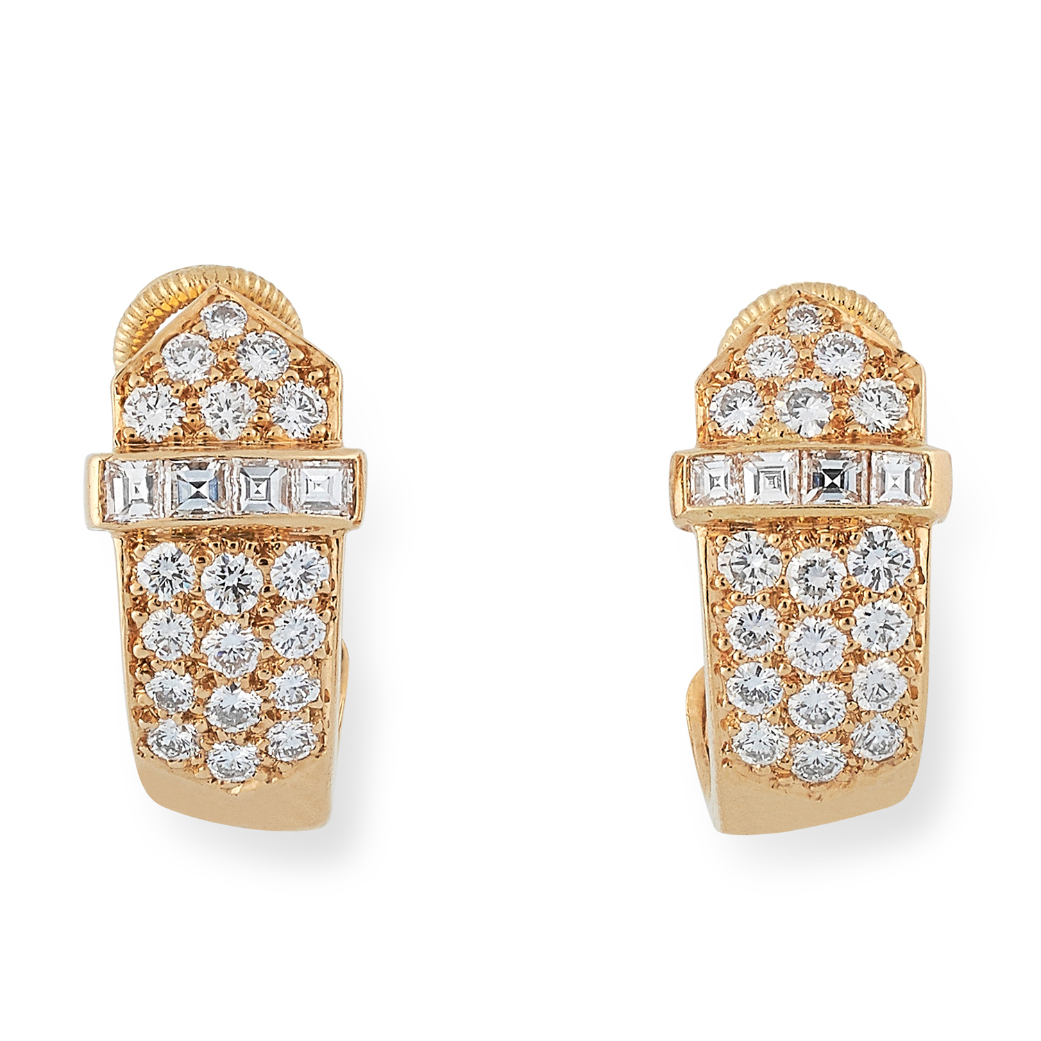 Los 2 - 1.00 CARAT DIAMOND EARRINGS, DAVID MORRIS in buckle motif set with round cut diamonds totalling