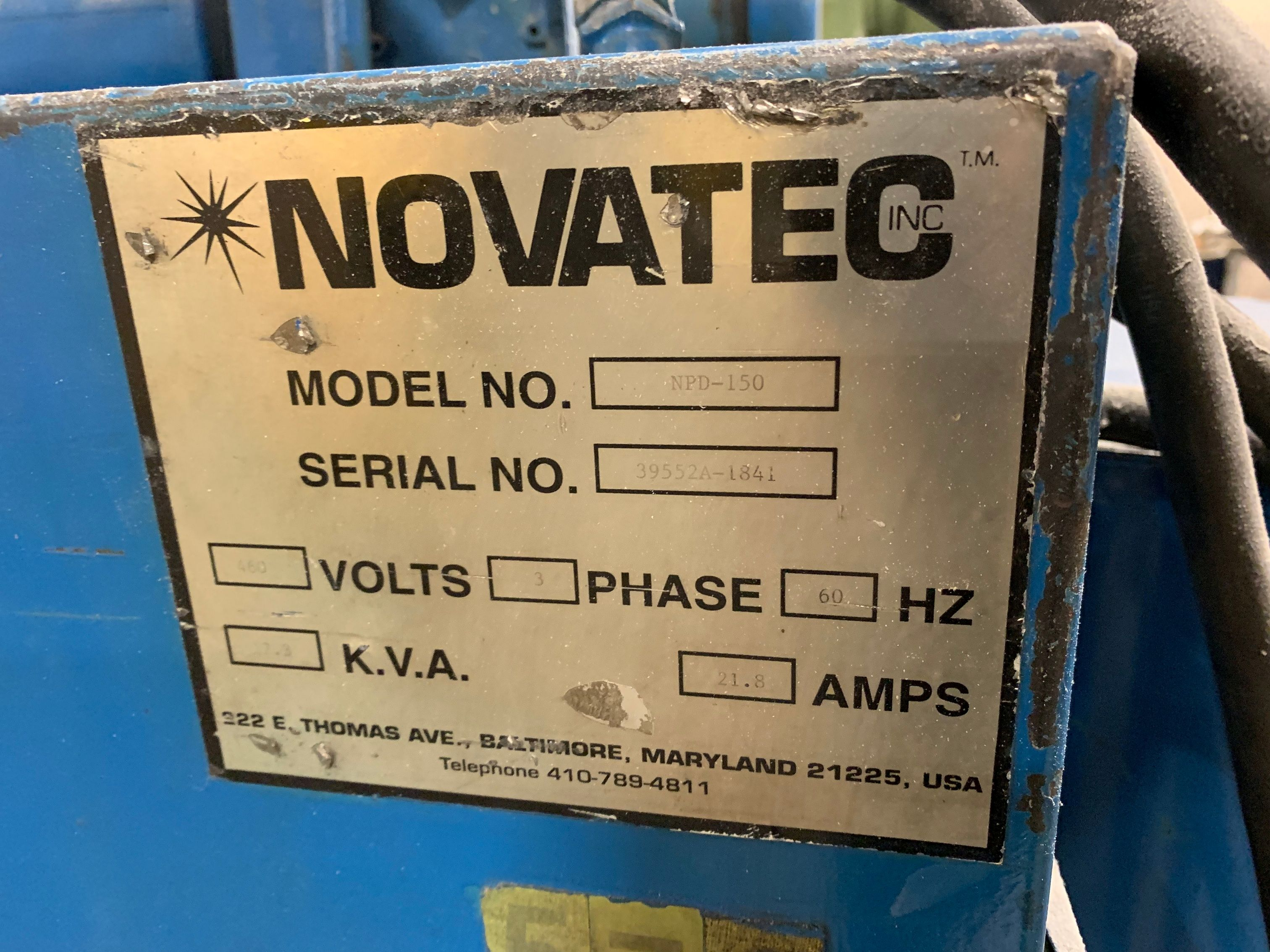 Lotto 91 - NOVATEC MODEL NPD-150 RESIN DRYER; S/N 39552A-1841