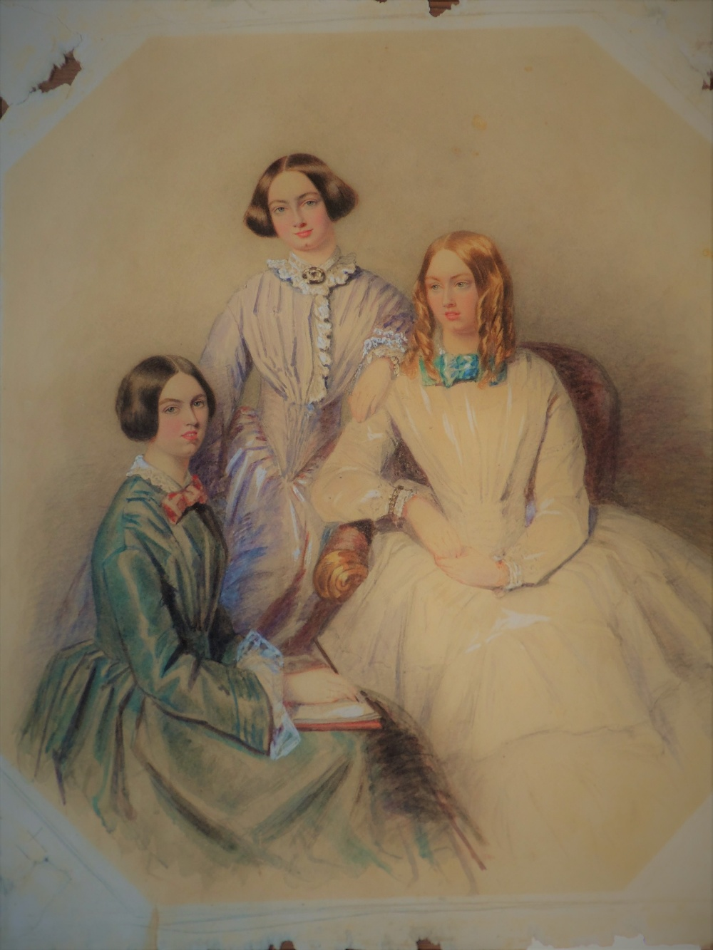 Lot 1 - Feminist Masterpiece - A delightful and charming watercolour portrait study on 'rag' paper of three