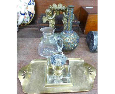 A carved wooden box, a whisky noggin, a figural candlestick, an inkwell and a vase with cloisonne decoration