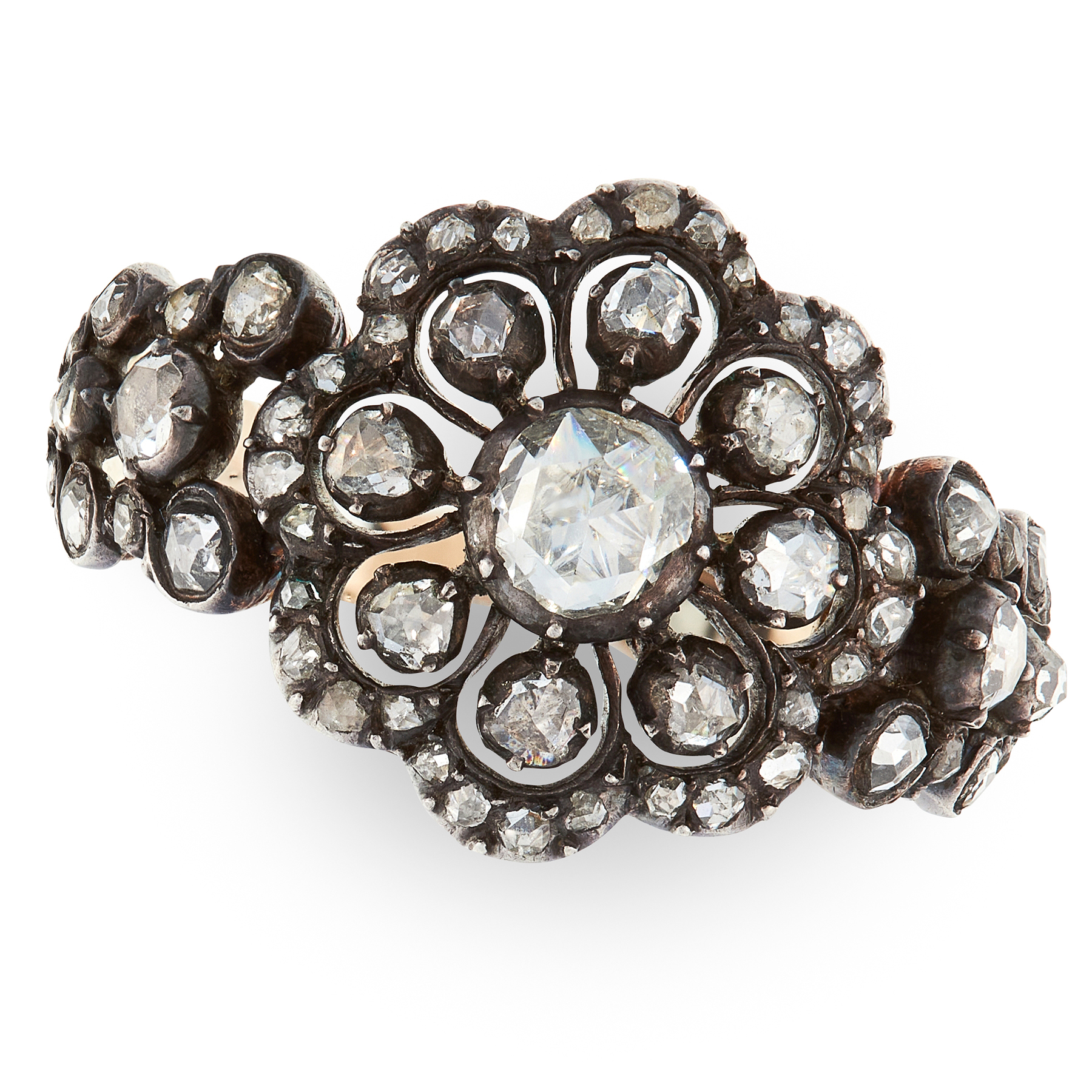 AN ANTIQUE DIAMOND FLEXIBLE RING, DUTCH in yellow gold and silver, set with clusters of rose cut