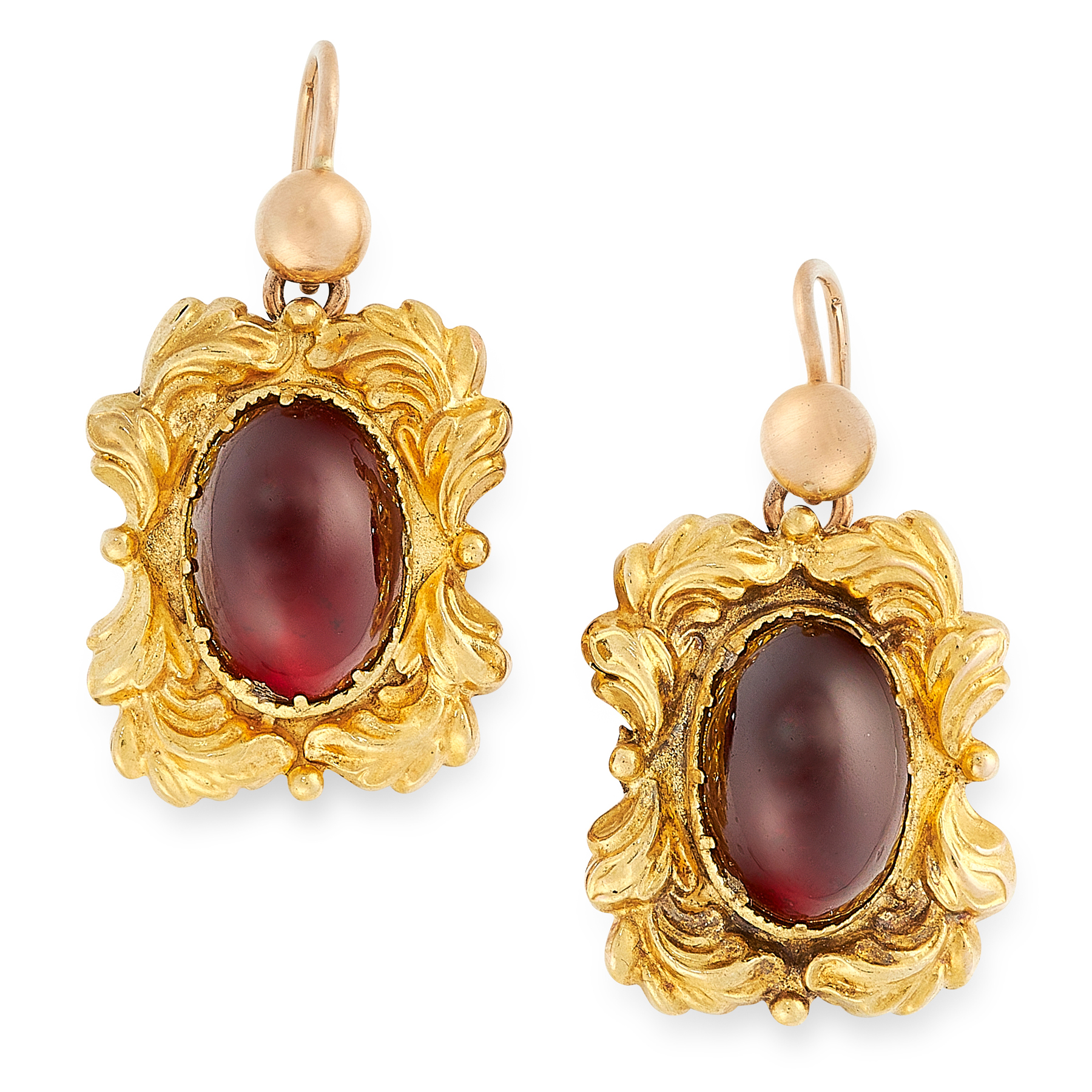 A PAIR OF ANTIQUE VICTORIAN GARNET EARRINGS in high carat yellow gold, the rectangular body is set