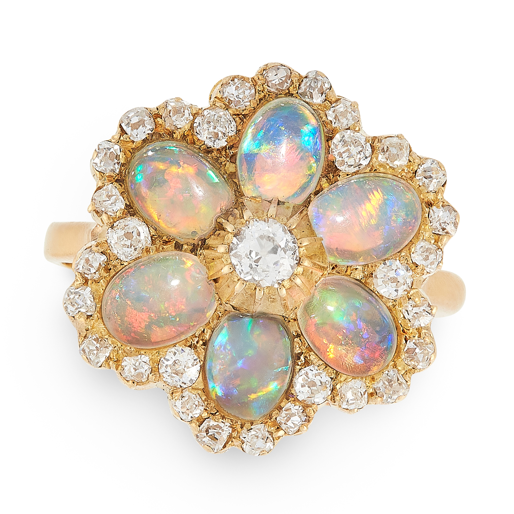AN OPAL AND DIAMOND CLUSTER RING in yellow gold, comprising of a cluster face set with old cut