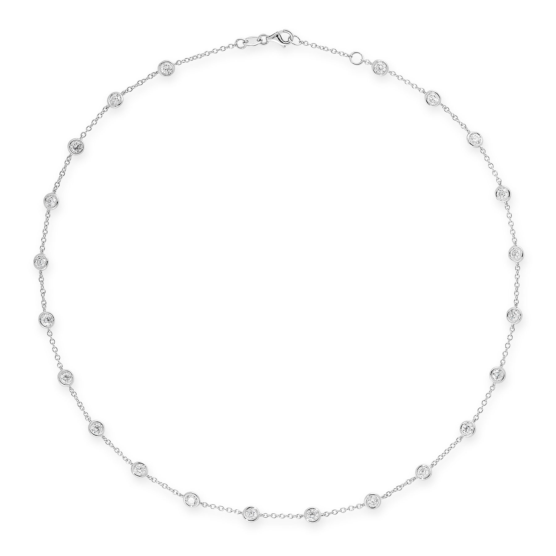 A DIAMOND NECKLACE in 18ct white gold, in the manner of Tiffany & Co Diamond by the Yard, set with