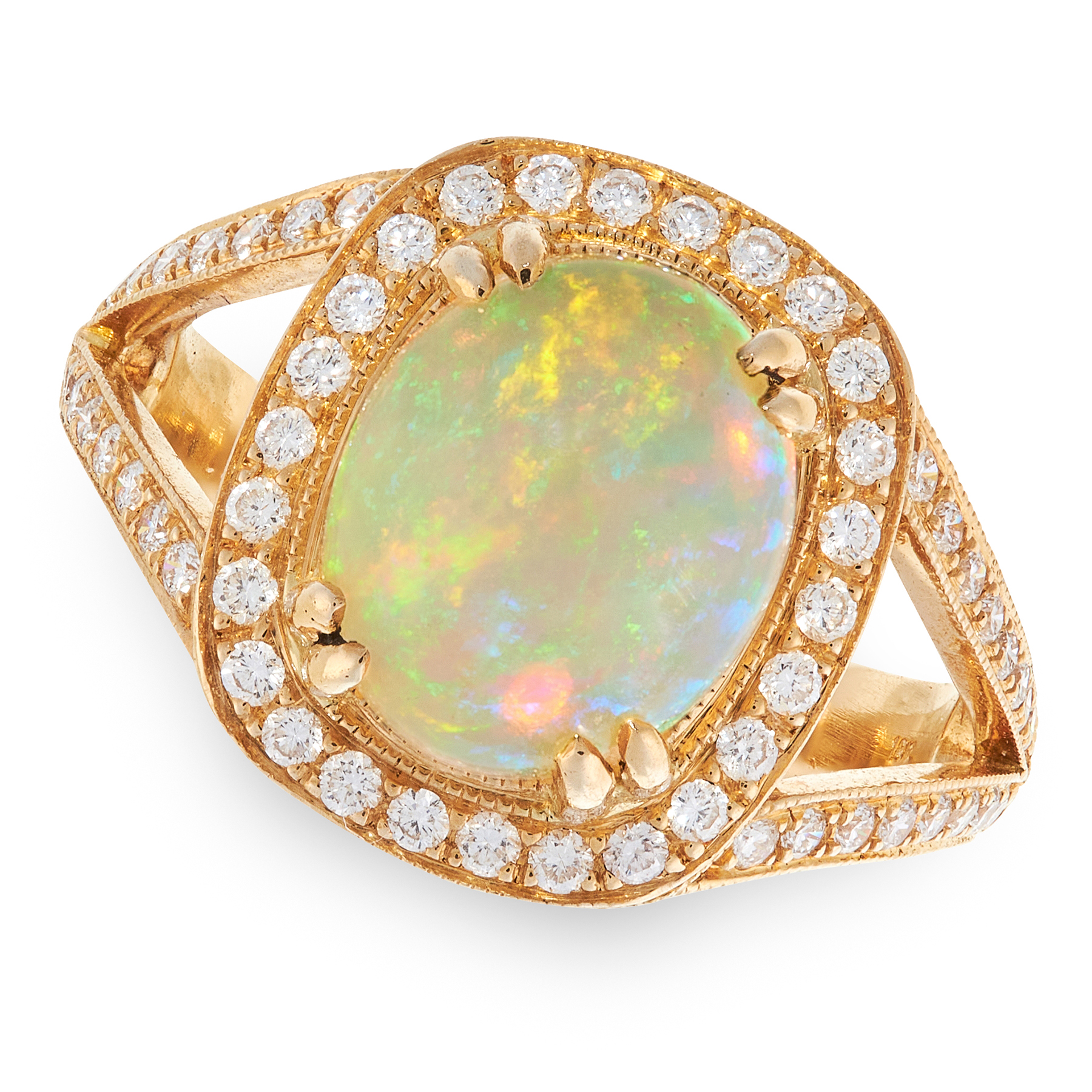 AN OPAL AND DIAMOND DRESS RING in 18ct yellow gold, set with an oval cabochon opal of 2.86 carats