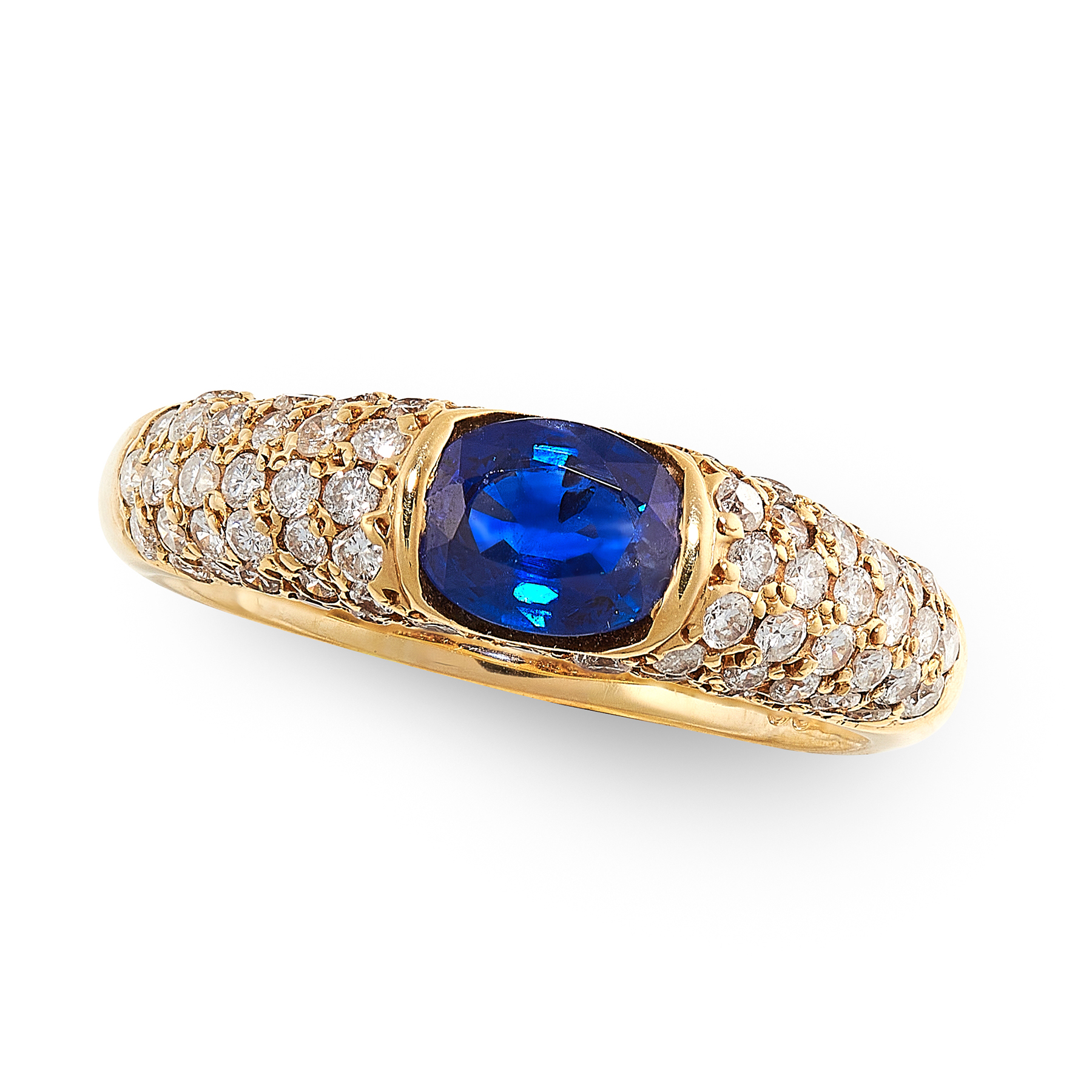 A TANZANITE AND DIAMOND RING in 18ct yellow gold, in elipse style, set with a cushion cut