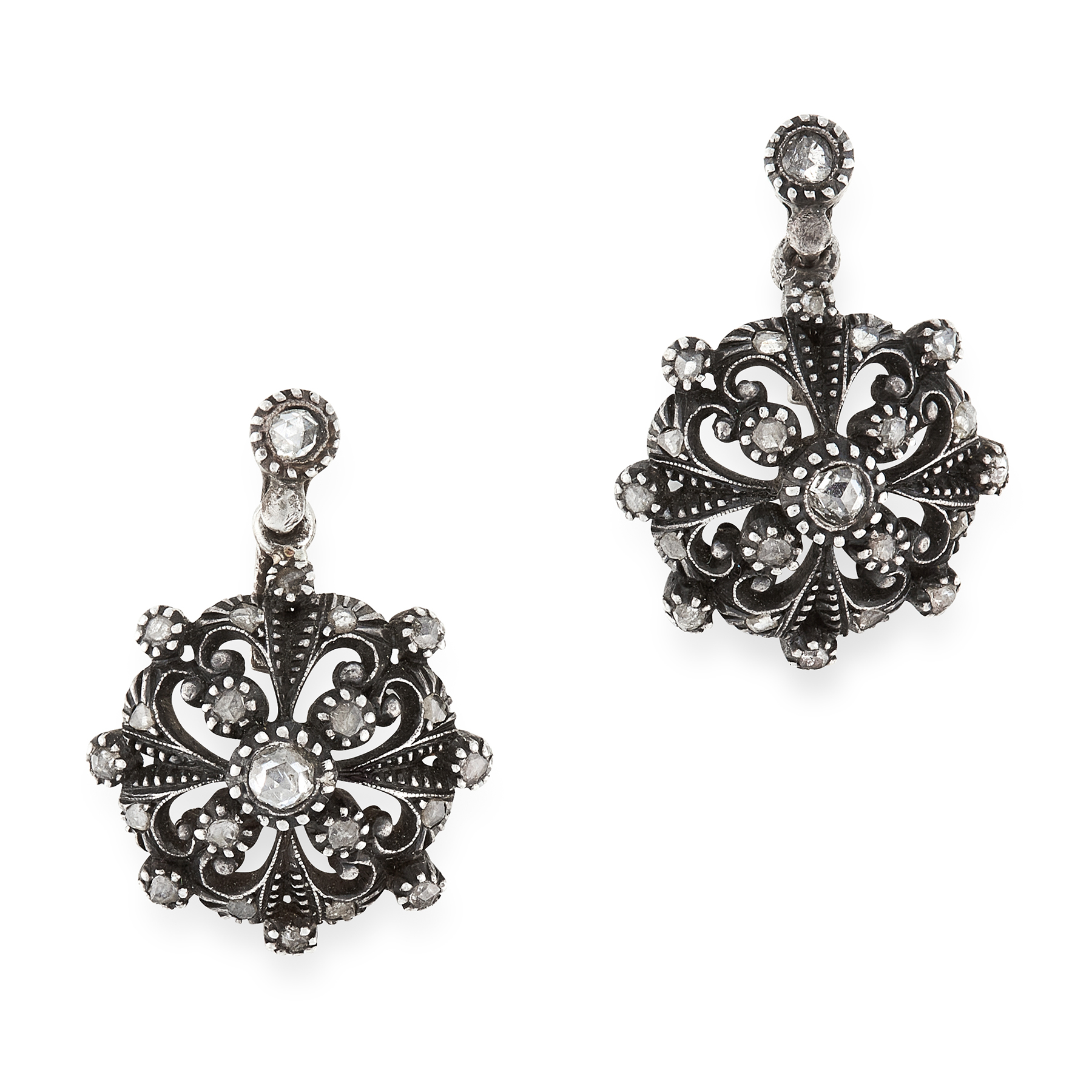 A PAIR OF DIAMOND EARRINGS, PORTUGUESE, 19TH CENTURY in yellow gold and silver, in open framework