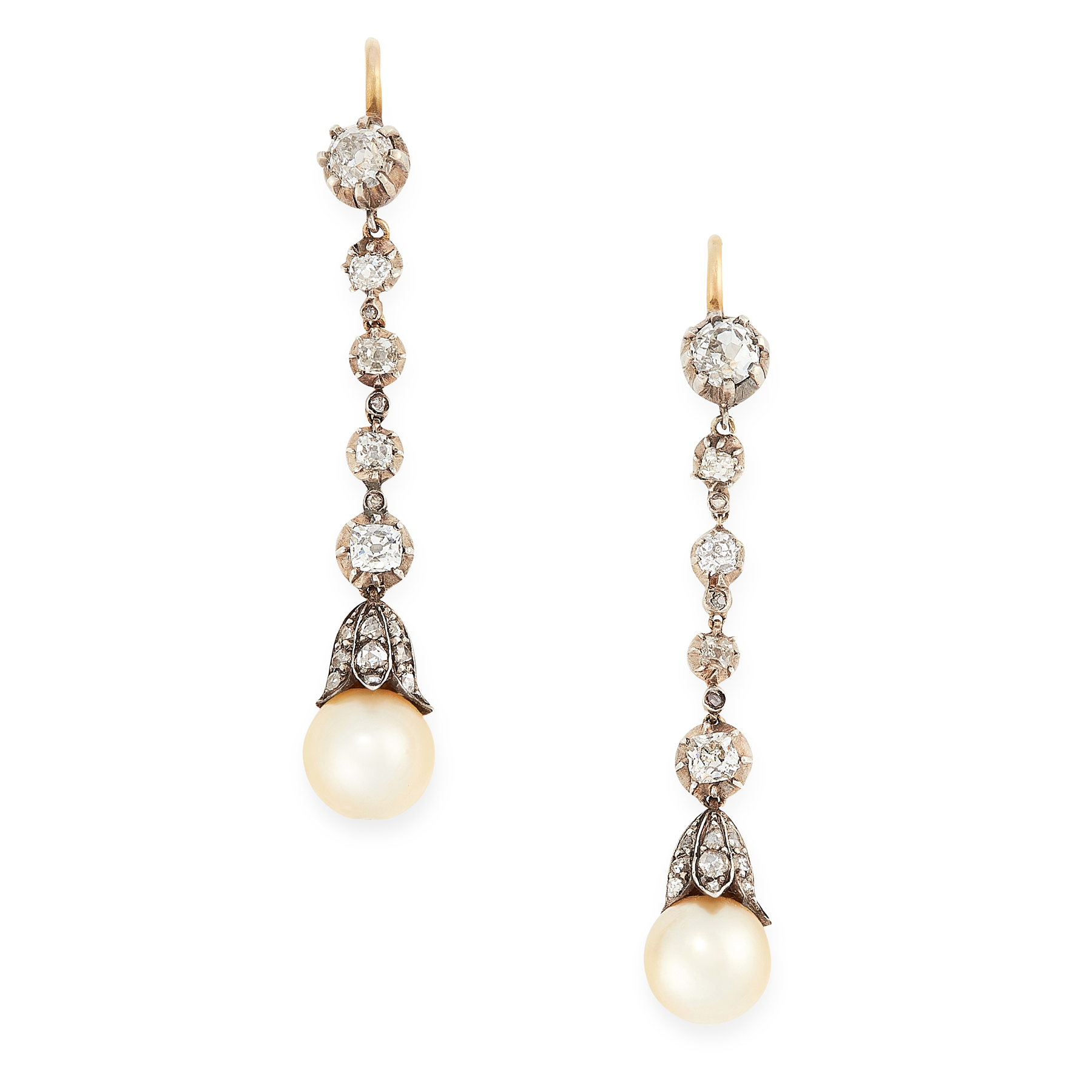 A PAIR OF ANTIQUE NATURAL SALTWATER PEARL AND DIAMOND DROP EARRINGS in yellow gold and silver,