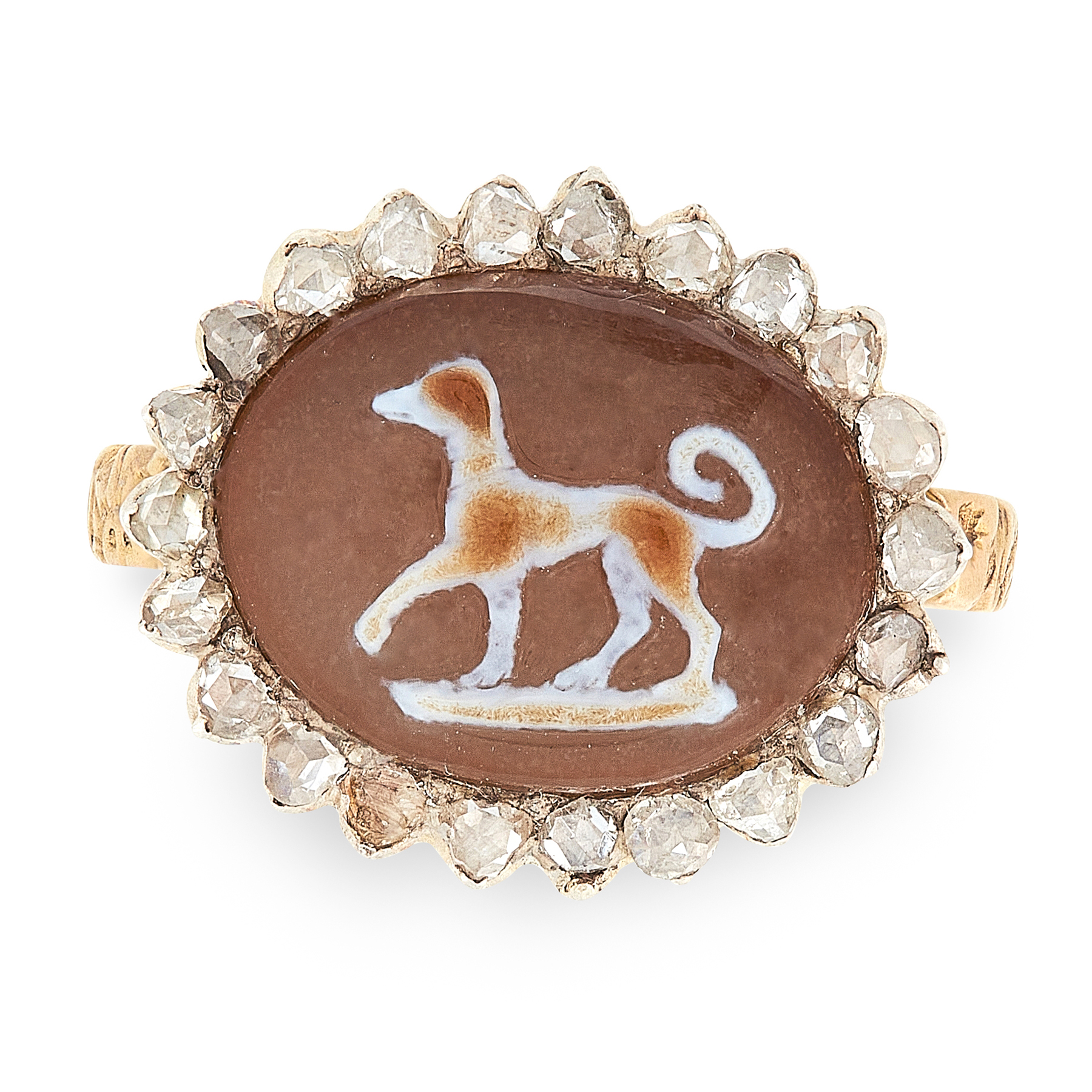 AN ANTIQUE GEORGIAN HARDSTONE CAMEO AND DIAMOND RING in high carat yellow gold, comprising of a