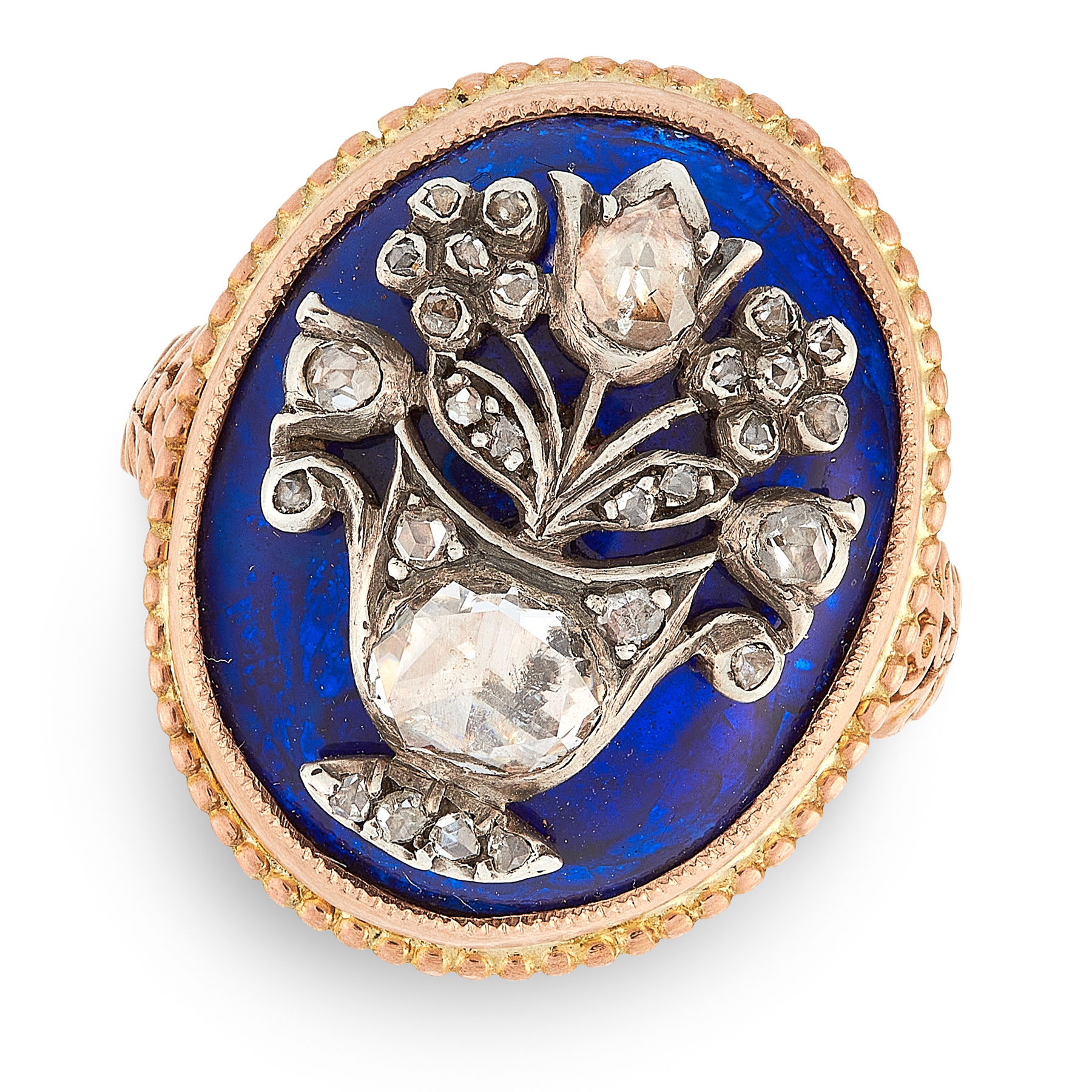 AN ANTIQUE GEORGIAN ENAMEL AND DIAMOND RING in yellow gold, the oval face is decorated with blue