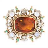 A FRENCH ANTIQUE CITRINE, MOONSTONE, EMERALD AND DIAMOND BROOCH in 18ct yellow gold, set with oval