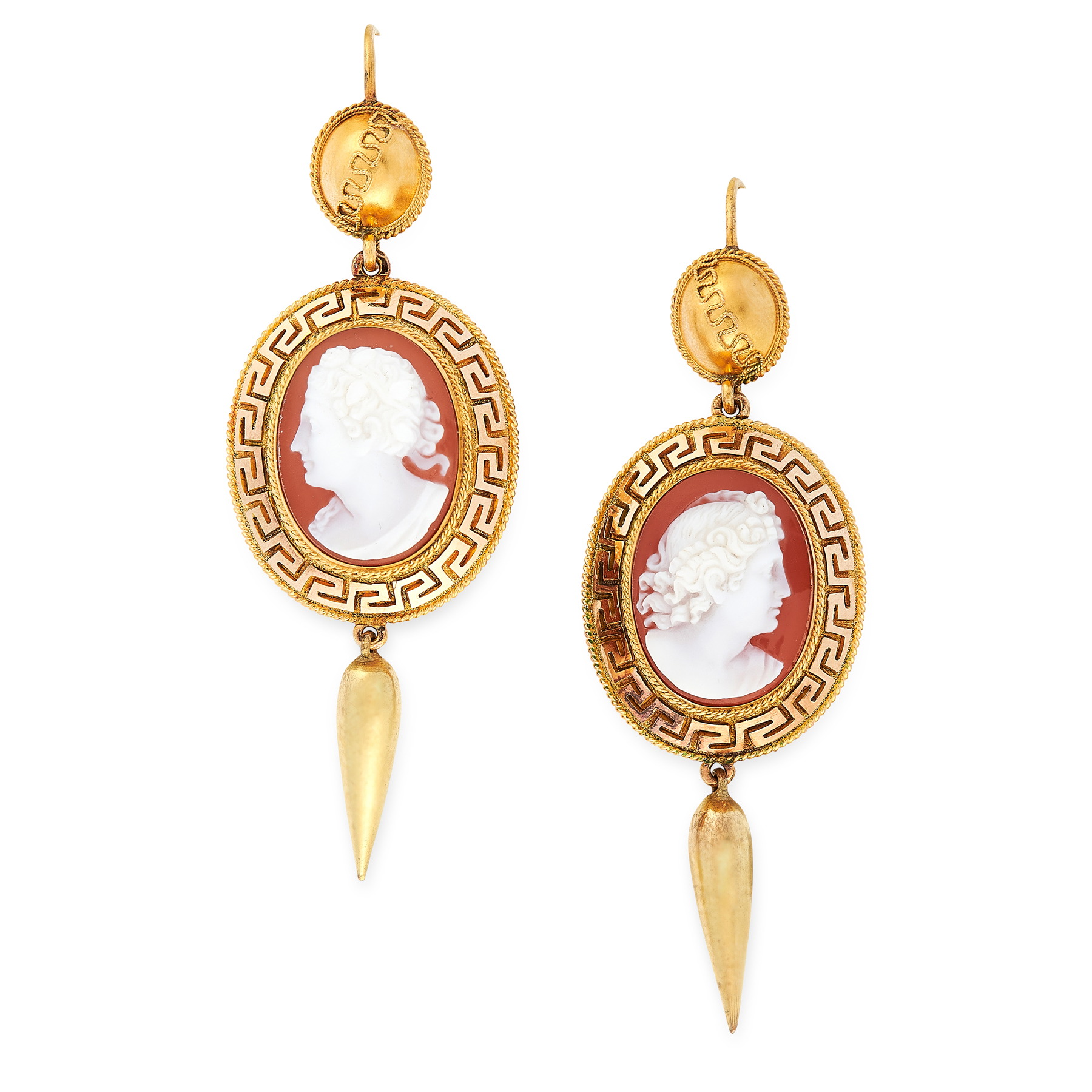 A PAIR OF ETRUSCAN REVIVAL CAMEO EARRINGS in high carat yellow gold, each formed of a carved shell