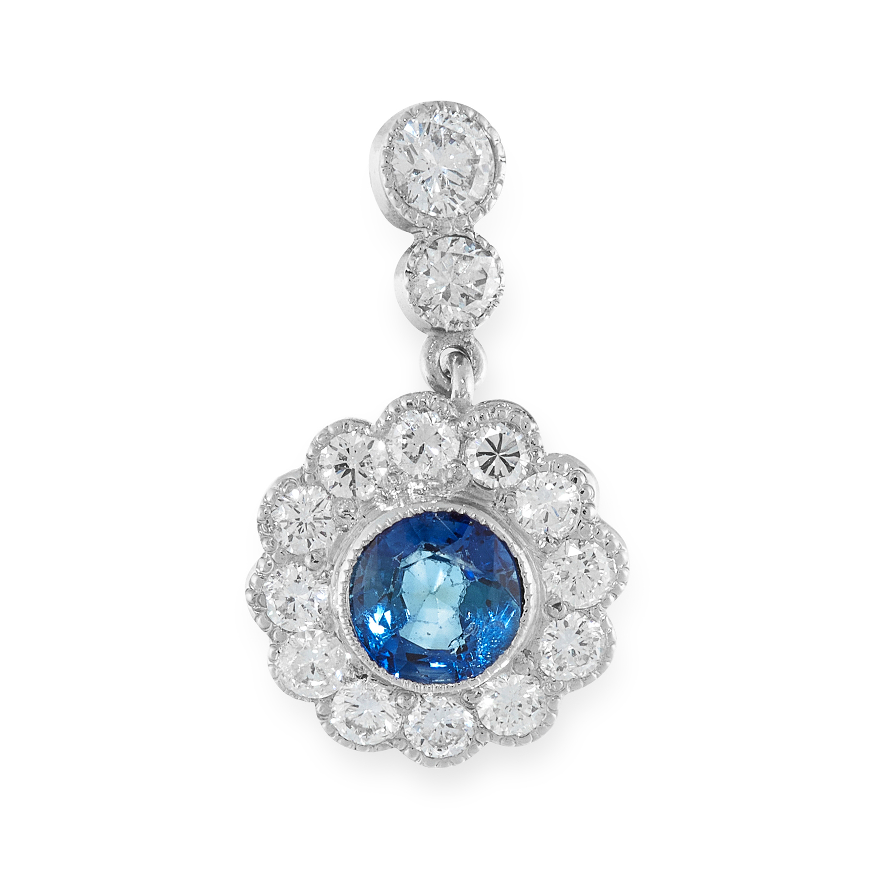 A SAPPHIRE AND DIAMOND PENDANT set with a round cut sapphire of 0.45 carats in a border of round cut